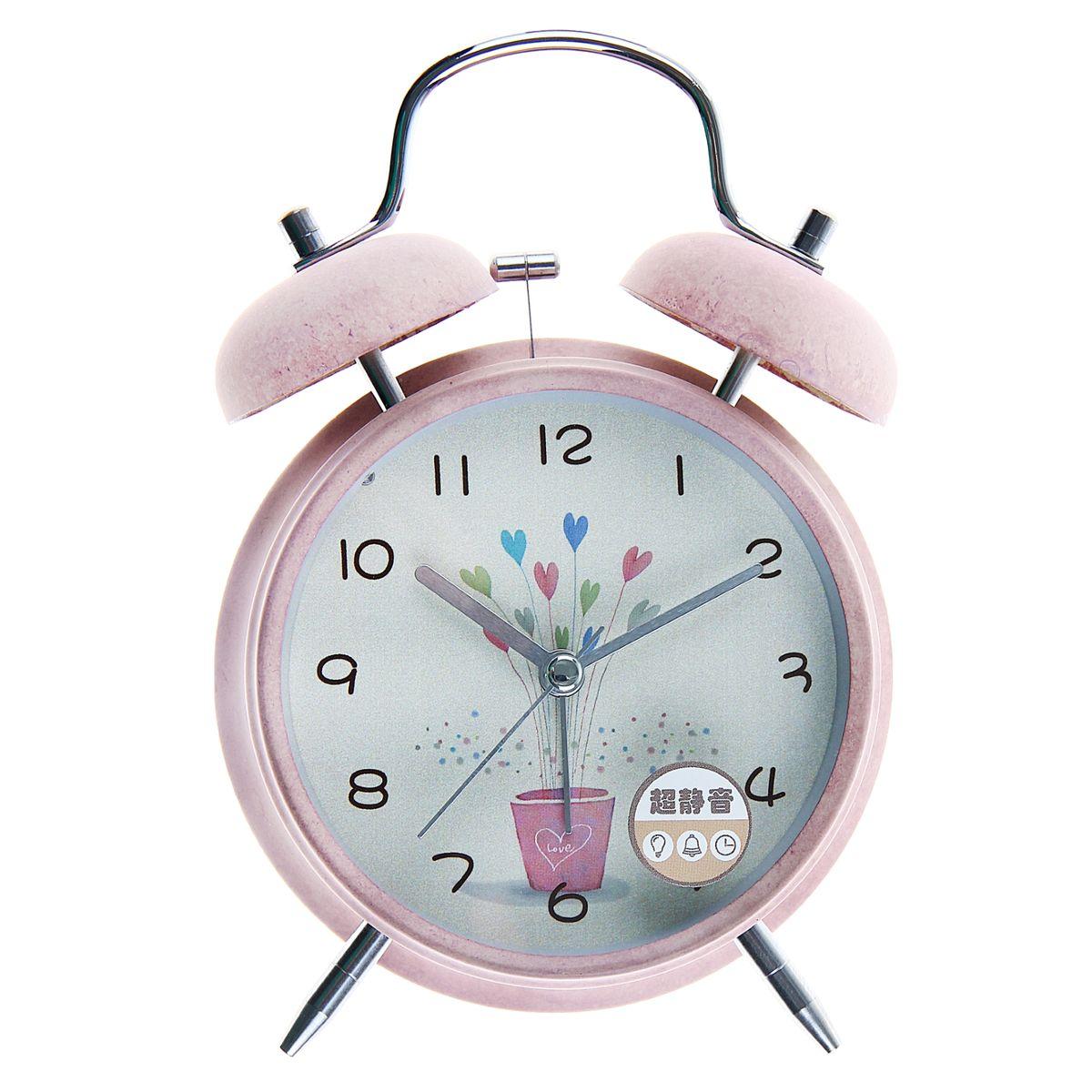 будильник d=11,5см 2 звоночка на циферблате Букет из сердечек, розовые 10564291056429Металл, стекло, пластик, от батареек НЕ в к-те