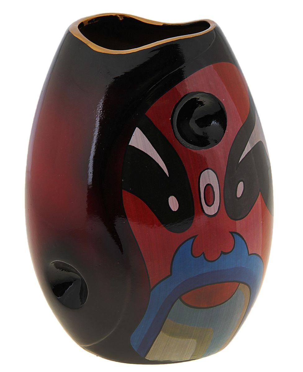 ваза ручной работы бочонок отверстие 26*19*8 см маска этника 106833106833Керамика