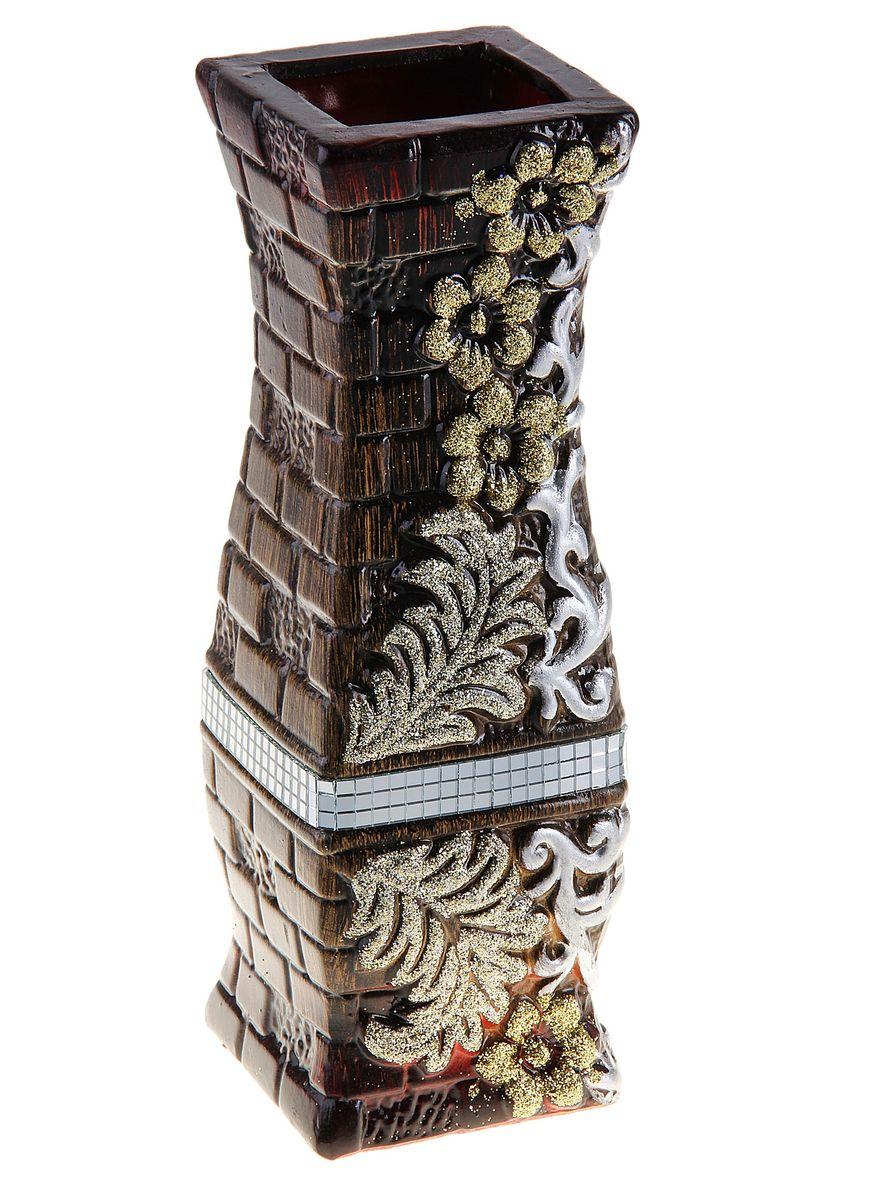 Ваза керамическая 30 см цветочный узор (3 вида) коричневая 119438