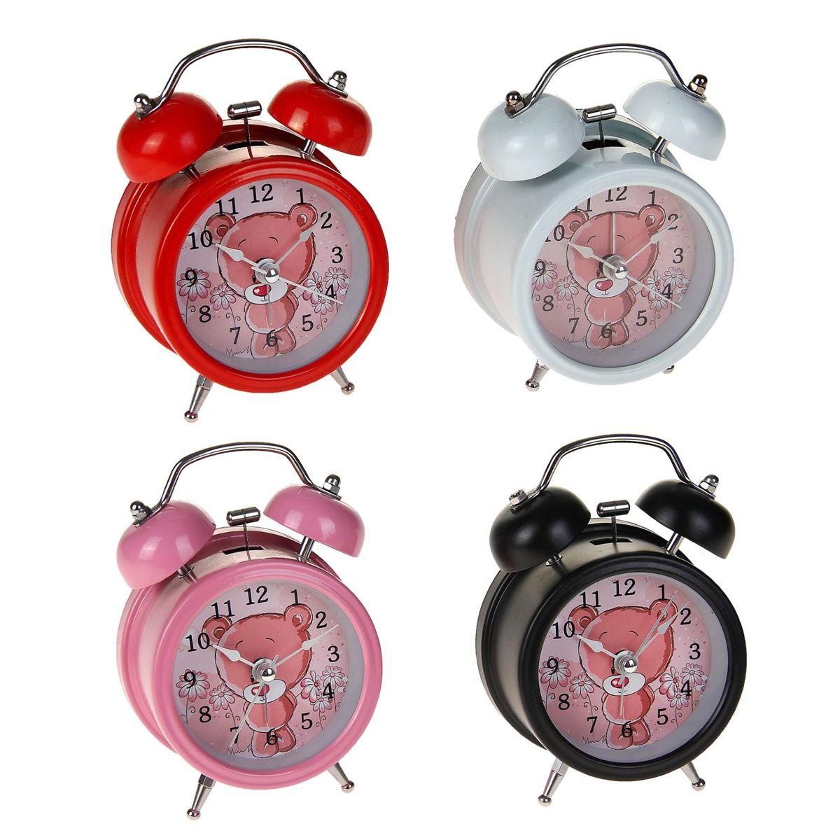 будильник d=8см 2 звоночка на циферблате Мишка-стесняшка микс 127199127199Металл, стекло, пластик