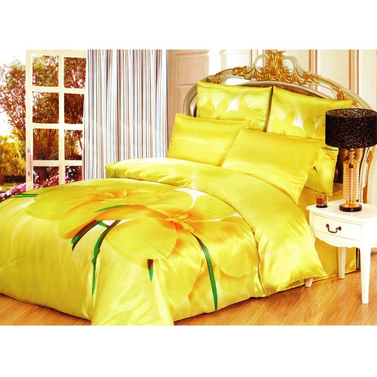 Комплект белья Этель Нарцисс, 2-спальный, наволочки 70x70, 50х70, цвет: желтый, оранжевый, зеленый171636Комплект постельного белья Этель Нарцисс состоит из пододеяльника на молнии, простыни и четырех наволочек. Удивительной красоты рисунок, нанесенный на белье, сочетает в себе нежность и теплоту. Постельное белье Этель Нарцисс создано для романтичных натур, которые любят изысканный дизайн. Белье изготовлено из искусственного шелка, отвечающего всем необходимым нормативным стандартам. Шелковая ткань очень прочная и мягкая, ее особая структура делает пребывание в постели комфортным. Неоспоримым плюсом белья из такой ткани является легкость, оно не мнется и отлично впитывает влагу, обеспечивает хорошую циркуляцию воздуха. Ткань устойчива к воздействию света (не выцветает и не линяет), сохраняя первозданную яркость красок. При соблюдении рекомендаций по уходу белье выдерживает много стирок, не теряет свою прочность. Уникальная ткань обеспечивает легкую глажку. Приобретая комплект постельного белья Этель Нарцисс, вы можете быть ...