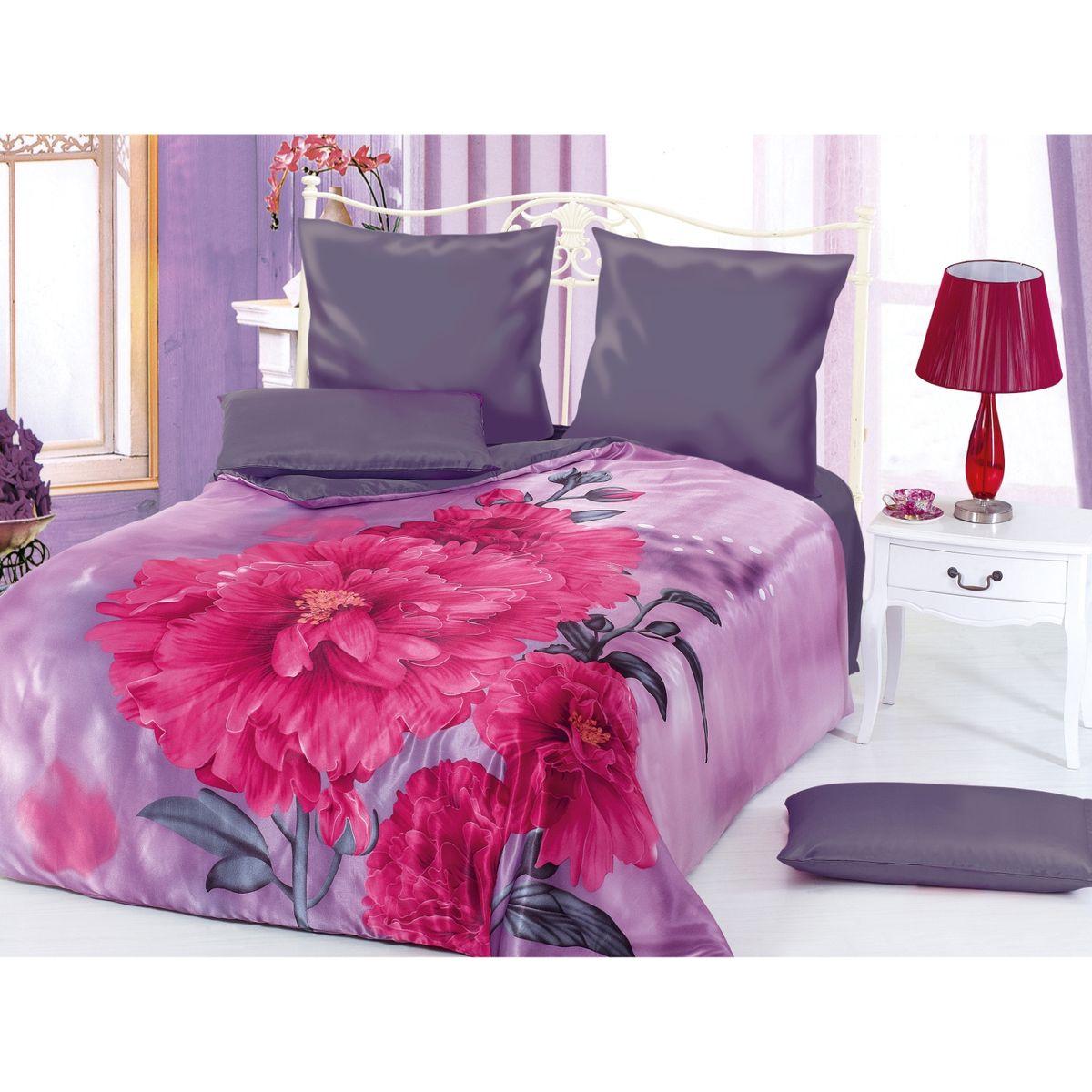 Комплект белья Этель Пион, 2-спальный, наволочки 70x70, 50х70, цвет: розовый, фиолетовый171644Комплект постельного белья Этель Пион состоит из пододеяльника на молнии, простыни и четырех наволочек. Удивительной красоты 3D рисунок, нанесенный на белье, сочетает в себе нежность и теплоту. Постельное белье Этель Пион создано для романтичных натур, которые любят изысканный дизайн. Белье изготовлено из искусственного шелка, отвечающего всем необходимым нормативным стандартам. Шелковая ткань очень прочная и мягкая, ее особая структура делает пребывание в постели комфортным. Неоспоримым плюсом белья из такой ткани является легкость, оно не мнется и отлично впитывает влагу, обеспечивает хорошую циркуляцию воздуха. Ткань устойчива к воздействию света (не выцветает и не линяет), сохраняя первозданную яркость красок. При соблюдении рекомендаций по уходу белье выдерживает много стирок, не теряет свою прочность. Уникальная ткань обеспечивает легкую глажку. Приобретая комплект постельного белья Этель Пион, вы можете быть уверены в том, что...