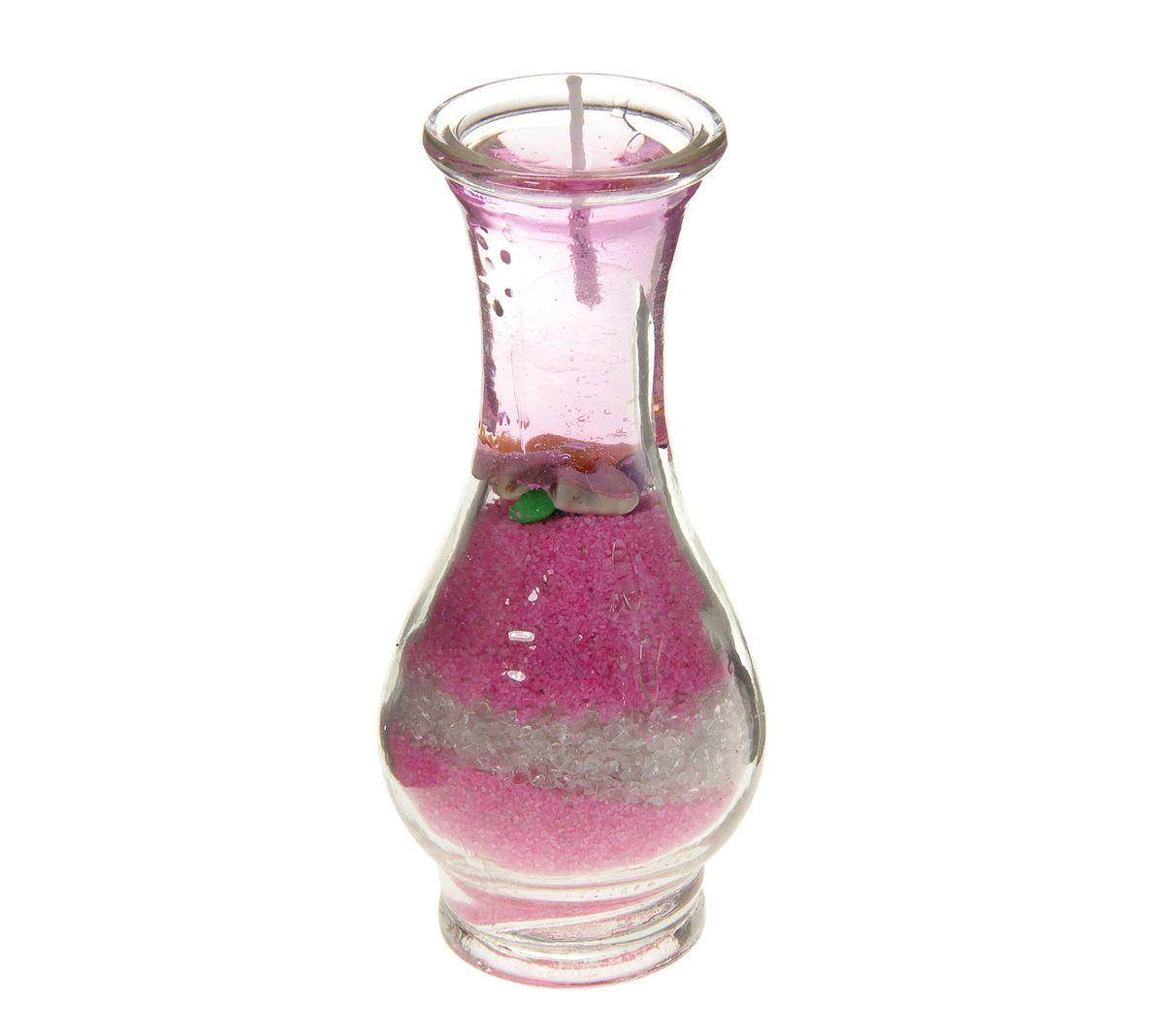 Свеча декоративная Sima-land Ваза с песком, цвет: розовый, высота 11 см182342Свеча Sima-land Ваза с песком изготовлена из геля и расположена в подсвечнике, выполненном в виде стеклянной вазы, которая наполнена цветным песком. Изделие отличается оригинальным дизайном. Такая свеча может стать отличным подарком, а так же создаст незабываемую атмосферу уюта в вашем доме.