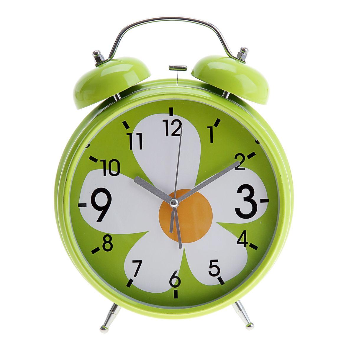 """Часы-будильник Sima-land """"Ромашка"""", цвет: салатовый, белый, оранжевый, диаметр 20 см"""