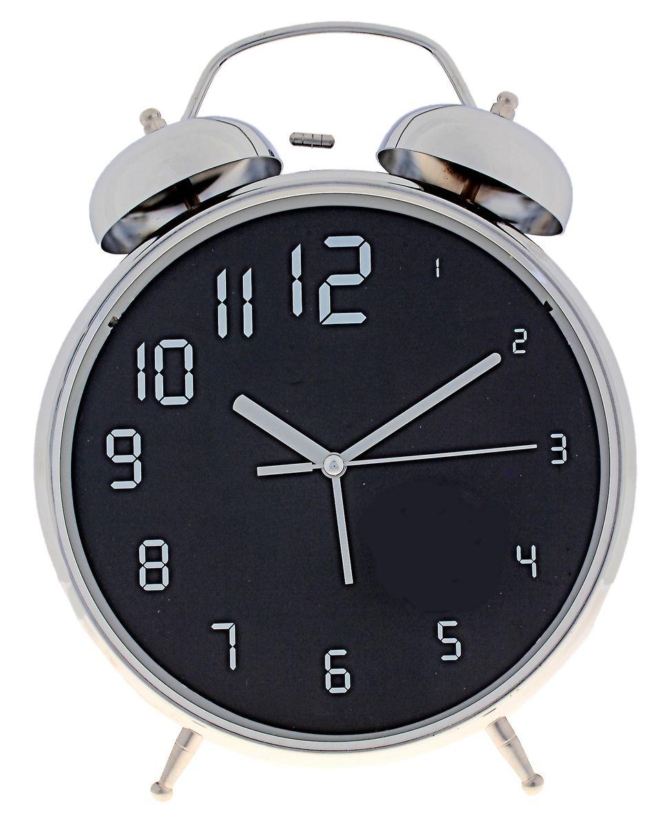 Часы-будильник Sima-land Увеличение цифр, цвет: черный, серебристый, диаметр 20 см669616Часы-будильник Sima-land Увеличение цифр - это невероятных размеров устройство, созданное специально для тех, кто с трудом просыпается по утрам! Изделие обладает оригинальным интересным дизайном. Такой будильник станет изюминкой вашего интерьера. Будильник работает от 3 батареек типа АА 1,5 В (в комплект не входят). На задней панели будильника расположены переключатель включения/выключения механизма, два поворотных рычага для настройки текущего времени и установки будильника, а также кнопка для включения подсветки циферблата. Диаметр циферблата: 20 см.