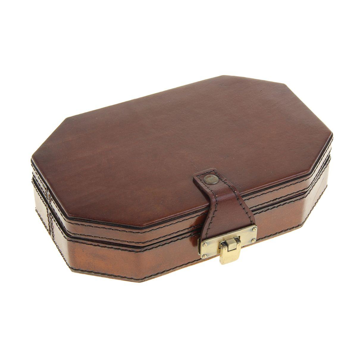 "Шкатулка Sima-land ""Многогранник"", цвет: коричневый, 21 х 13,5 х 5 см"