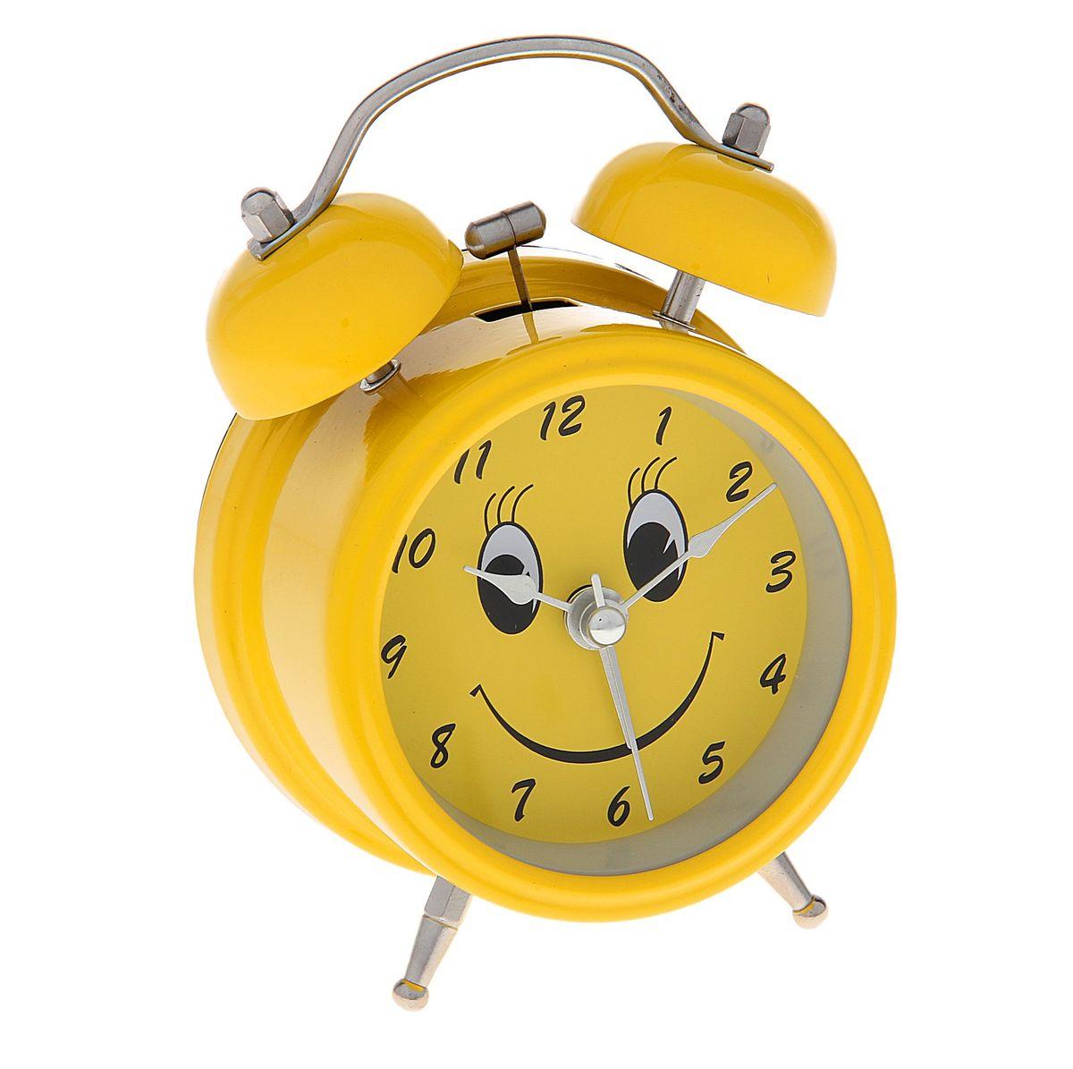 будильник желтый с подсветкой на циферблате смайл 2 звоночка d8см 720804720804Металл, стекло, пластик, от батареек НЕ в к-те