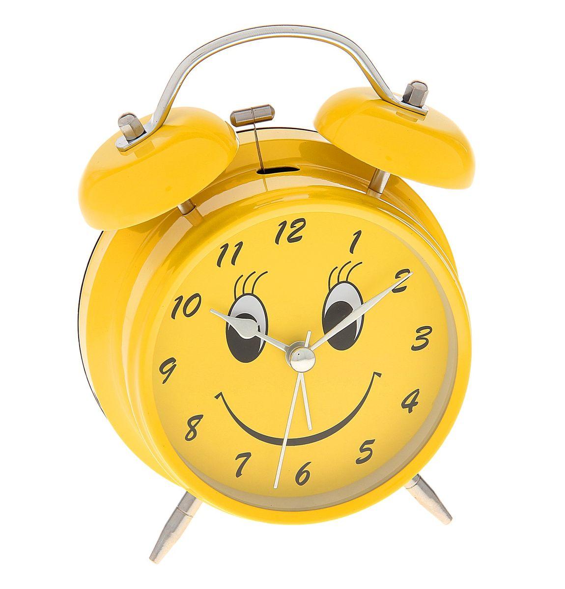 Часы-будильник Sima-land Смайл, цвет: желтый. 720829720829Как же сложно иногда вставать вовремя! Всегда так хочется поспать еще хотя бы 5 минут и бывает, что мы просыпаем. Теперь этого не случится! Яркий, оригинальный будильник Sima-land Смайл поможет вам всегда вставать в нужное время и успевать везде и всюду. Корпус будильника выполнен из металла. Циферблат оформлен изображением веселого смайла. Часы снабжены 4 стрелками (секундная, минутная, часовая и для будильника). На задней панели будильника расположен переключатель включения/выключения механизма, а также два колесика для настройки текущего времени и времени звонка будильника. Часы снабжены подсветкой, которая включается нажатием на кнопку с задней стороны. Пользоваться будильником очень легко: нужно всего лишь поставить батарейку, настроить точное время и установить время звонка. Необходимо докупить 1 батарейку типа АА (не входит в комплект).