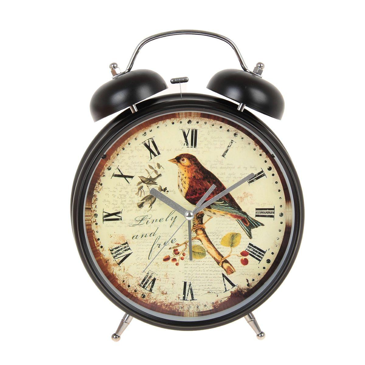 "Часы-будильник Sima-land ""Linely And Free"", цвет: черный, светло-желтый, диаметр 20 см"
