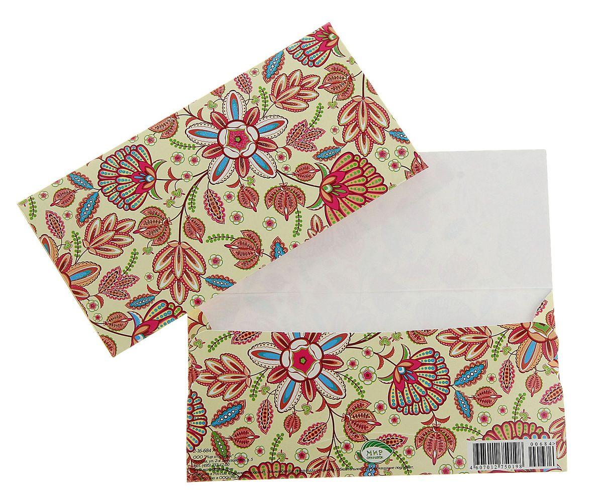 Конверт для денег Цветы. 778395778395Подарочный конверт для денег Цветы выполнен из плотной бумаги. Конверт украшен красочным принтом в виде цветов. Внутри есть отделение для денег. Такой конверт послужит замечательным оформлением вашего подарка.