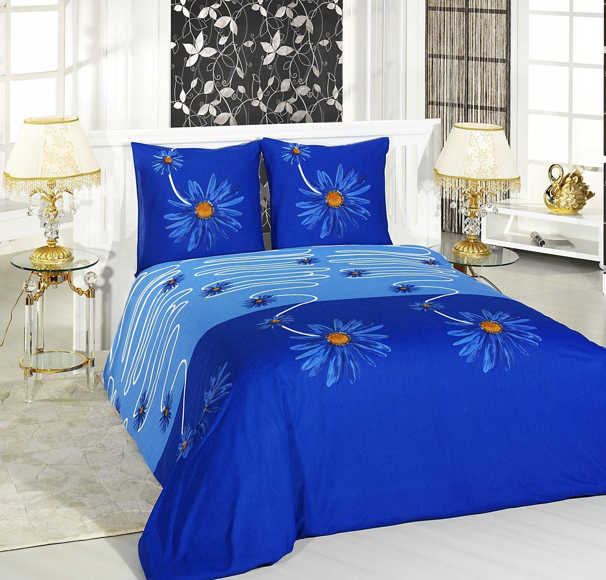 Комплект белья Antalya, 2-спальный, наволочки 70х70, цвет: темно-синий, белый. 821055821055Комплект белья Antalya состоит из простыни, пододеяльника и двух наволочек. Изделия выполнены из махровой ткани (высококачественного турецкого хлопка с добавлением полиэстера) и оформлены цветочным рисунком. Ткань эластичная, хорошо тянется. Простыня снабжена резинкой по периметру, что позволяет надежно зафиксировать ее на матрасе. Пододеяльник и наволочки - на молнии. Такой комплект белья подарит мягкость, комфорт и уют во время сна, а яркий дизайн красиво дополнит интерьер.