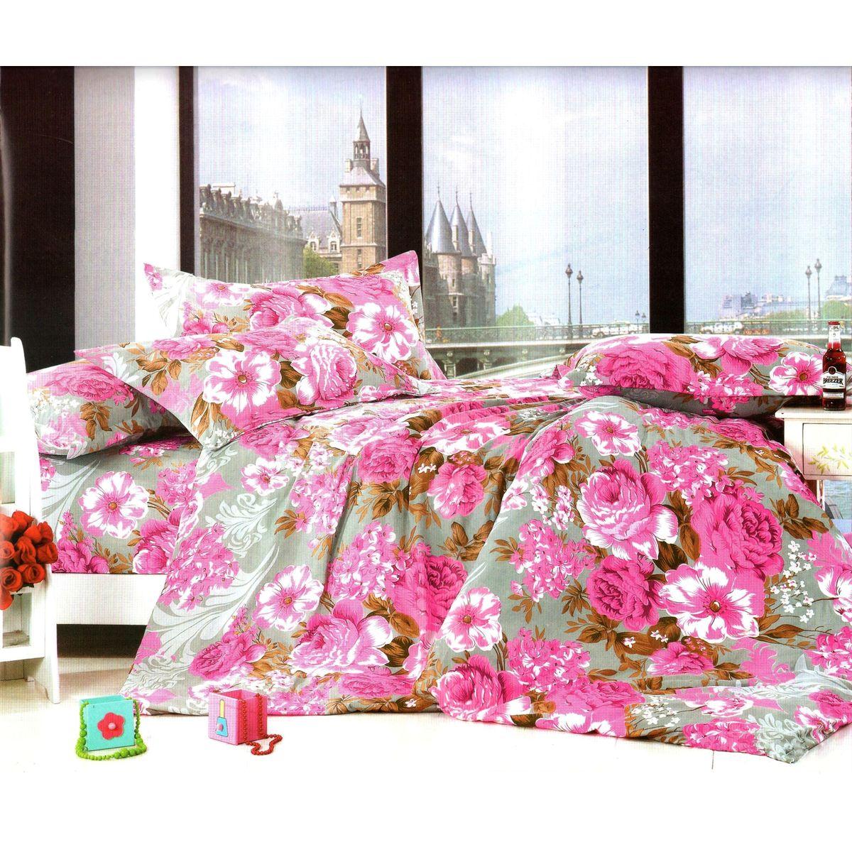 Комплект белья Этель Роза, 1,5-спальный, наволочки 70x70, цвет: розовый, белый, серый824946Комплект постельного белья Этель Роза состоит из пододеяльника на молнии, простыни и двух наволочек. Постельное белье оформлено оригинальным рисунком цветов и имеет изысканный внешний вид. Белье изготовлено из поликоттона отвечающего всем необходимым нормативным стандартам. Поликоттон - это ткань из экологически чистых материалов (50% хлопка, 50% полиэстера). Неоспоримым плюсом белья из такой ткани является мягкость и легкость, она прекрасно пропускает воздух, приятна на ощупь, не образует катышков на поверхности и за ней легко ухаживать. При соблюдении рекомендаций по уходу, это белье выдерживает много стирок, не линяет и не теряет свою первоначальную прочность. Уникальная ткань обеспечивает легкую глажку. Приобретая комплект постельного белья Этель Роза, вы можете быть уверенны в том, что покупка доставит вам и вашим близким удовольствие и подарит максимальный комфорт.