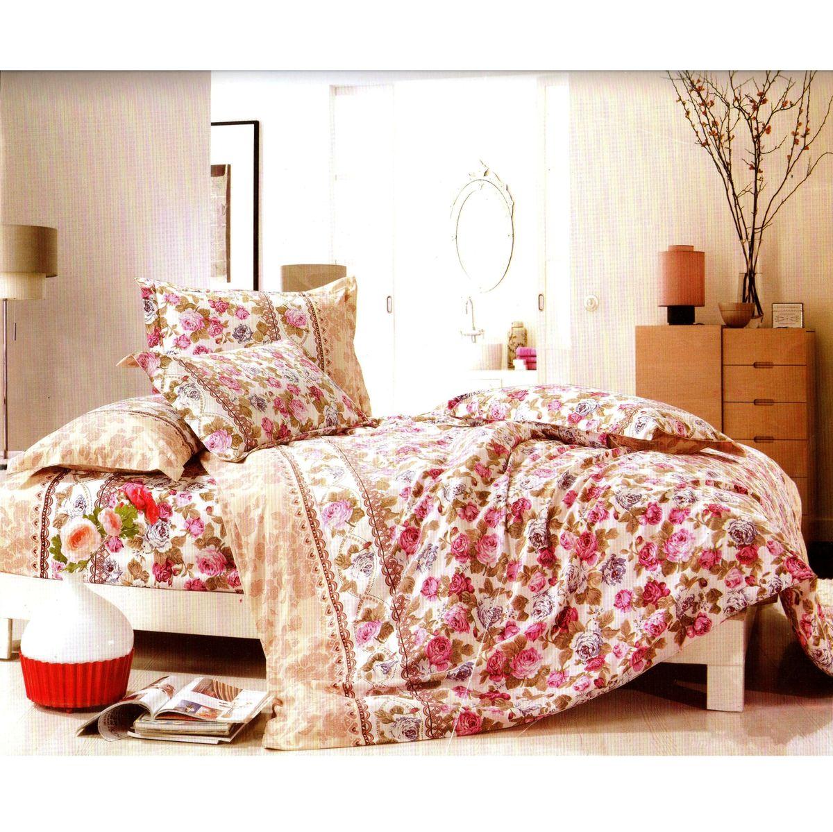 Комплект белья Этель Розовый сад, семейный, наволочки 70x70, цвет: розовый, белый, фиолетовый824992Комплект постельного белья Этель Розовый сад состоит из двух пододеяльников на молнии, простыни и двух наволочек. Постельное белье оформлено оригинальным рисунком цветов и имеет изысканный внешний вид. Белье изготовлено из поликоттона отвечающего всем необходимым нормативным стандартам. Поликоттон - это ткань из экологически чистых материалов (50% хлопка, 50% полиэстера). Неоспоримым плюсом белья из такой ткани является мягкость и легкость, она прекрасно пропускает воздух, приятна на ощупь, не образует катышков на поверхности и за ней легко ухаживать. При соблюдении рекомендаций по уходу, это белье выдерживает много стирок, не линяет и не теряет свою первоначальную прочность. Уникальная ткань обеспечивает легкую глажку. Приобретая комплект постельного белья Этель Розовый сад, вы можете быть уверенны в том, что покупка доставит вам и вашим близким удовольствие и подарит максимальный комфорт.
