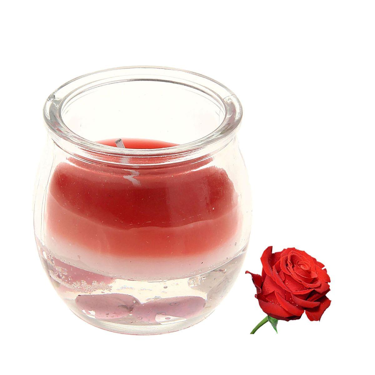 Свеча ароматизированная Sima-land Роза, высота 5,5 см. 825841825841Ароматизированная свеча Sima-land Роза изготовлена из воска и геля и поставляется в стеклянной баночке. Изделие отличается оригинальным дизайном и приятным ароматом. Такая свеча может стать отличным подарком или создаст незабываемую атмосферу праздника в вашем доме.