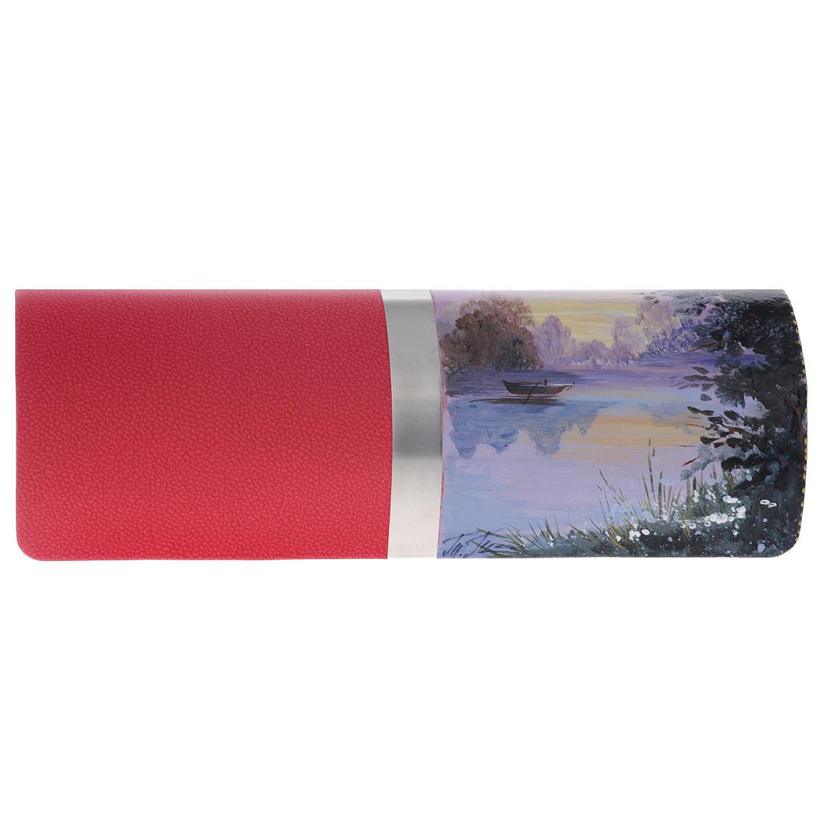 Футляр для очков Феодора Рассвет, цвет: красный. Ручная росписьFM-1004-RКрСтильный футляр для очков Феодора Рассвет выполнен из искусственной кожи и расписан вручную акриловыми красками. Лицевая сторона оформлена металлической вставкой. Очечник закрывается клапаном на скрытый магнит. Внутренняя часть изделия оформлена мягким текстильным материалом. Такой футляр станет замечательным подарком человеку, ценящему качественные и полезные вещи.