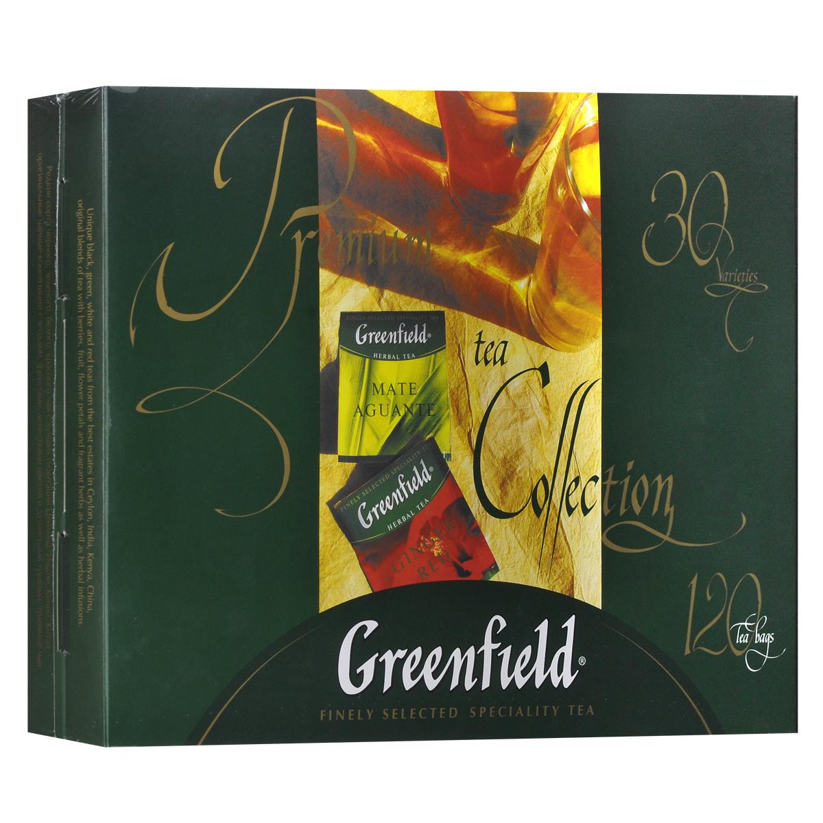 Greenfield набор изысканного чая и чай в пакетиках, 30 видов1074-08Редкие сорта черного, зеленого, белого, красного чая с лучших плантаций Цейлона, Индии, Кении, Китая и Японии. Оригинальные чайные композиции с ягодами, фруктами, лепестками цветов и душистыми травами, травяные чаи. В коробке с набором вложен буклет с описанием каждого вида чая из коллекции Greenfield. Голден Цейлон Премиум Ассан Классик Брекфаст Файн Джарджилинг Меджик Юньнань Деликат Кимынь Кениан Санрайз Эл Грей Фэнтази Милки Оолонг Флаинг Драгон Джапаниз Сенча Жасмин Дрим Крими Ройбош Рич Камомайл Матэ Агуантэ Самма Букет Джинджер Рэд Фестив Грэйп Лотос Бриз Грин Мелисса Тропикал Мавел Манго Делайт Блюберри Найтс Кристмас Мистери Истэ Чиэ Спринг Мелоди Барбери Гарден Лемон Спарк Ванила Вэйв Шоколад Тоффи