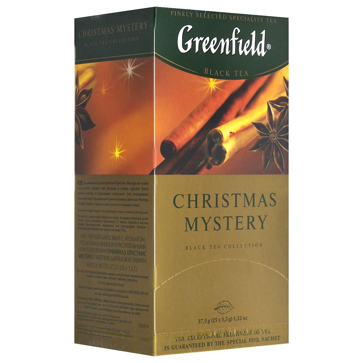 Greenfield Christmas Mystery черный чай в пакетиках, 25 шт0434-10Традиционный рождественский Greenfield Christmas Mystery на основе классического черного чая. Гвоздик и корица придают букету пряный оттенок, а освежающие цитрусовые тона подчеркивают пикантный вкус и праздничный характер Greenfield Christmas Mystery. Хорошо согревает, помогает снять усталость и повышает тонус.