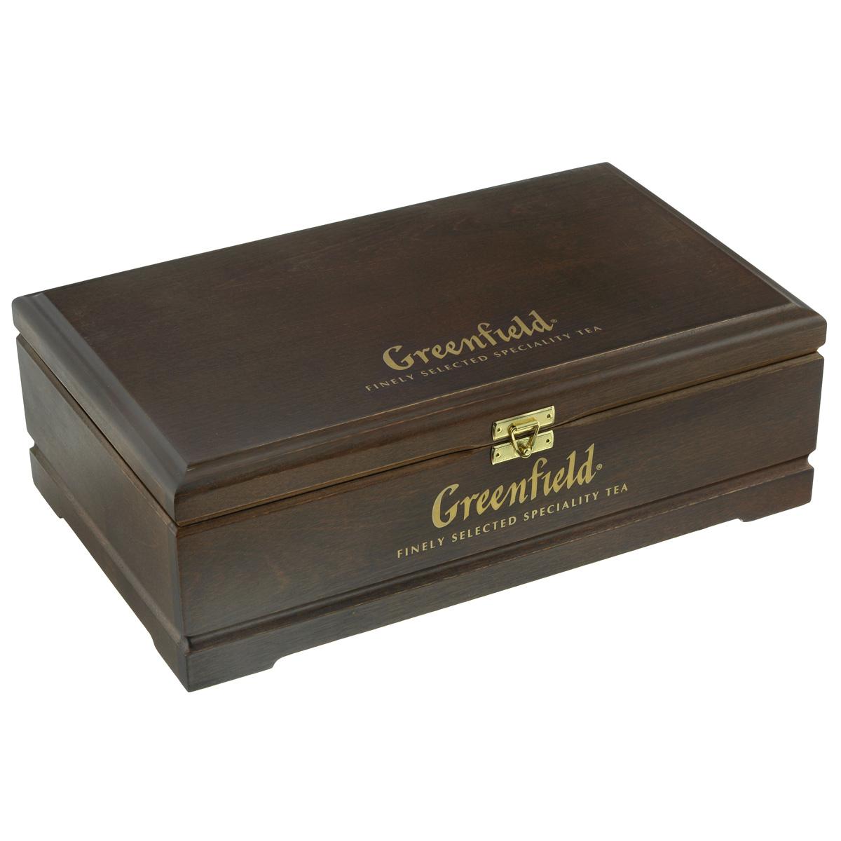 Greenfield подарочный набор: 8 видов чая, 178 г (деревянная шкатулка)0463-12Специально для тех, кто ценит изысканный вкус и превосходный аромат чая создан этот уникальный набор Гринфилд в необычной деревянной шкатулке. В подарочный набор входят: Голден Цейлон - черный цейлонский плантационный чай из Ругуну Меджик Юньнань - черный китайский плантационный чай из Юньнани Эрл Грей Фэнтази - черный цейлонский плантационный чай с ароматом бергамота Флаинг Драгон - зеленый китайский плантационный чай из Хунани Самма Букет - травяной чай на основе гибискуса, шиповника, яблока со вкусом малины Грин Мелисса - зеленый китайский чай с мелиссой, ароматом мяты и лимона Манго Делайт - белый китайский чай с яблоком и манго Спринг Мелоди - черный индийский чай с чабрецом, мятой и листом черной смородины