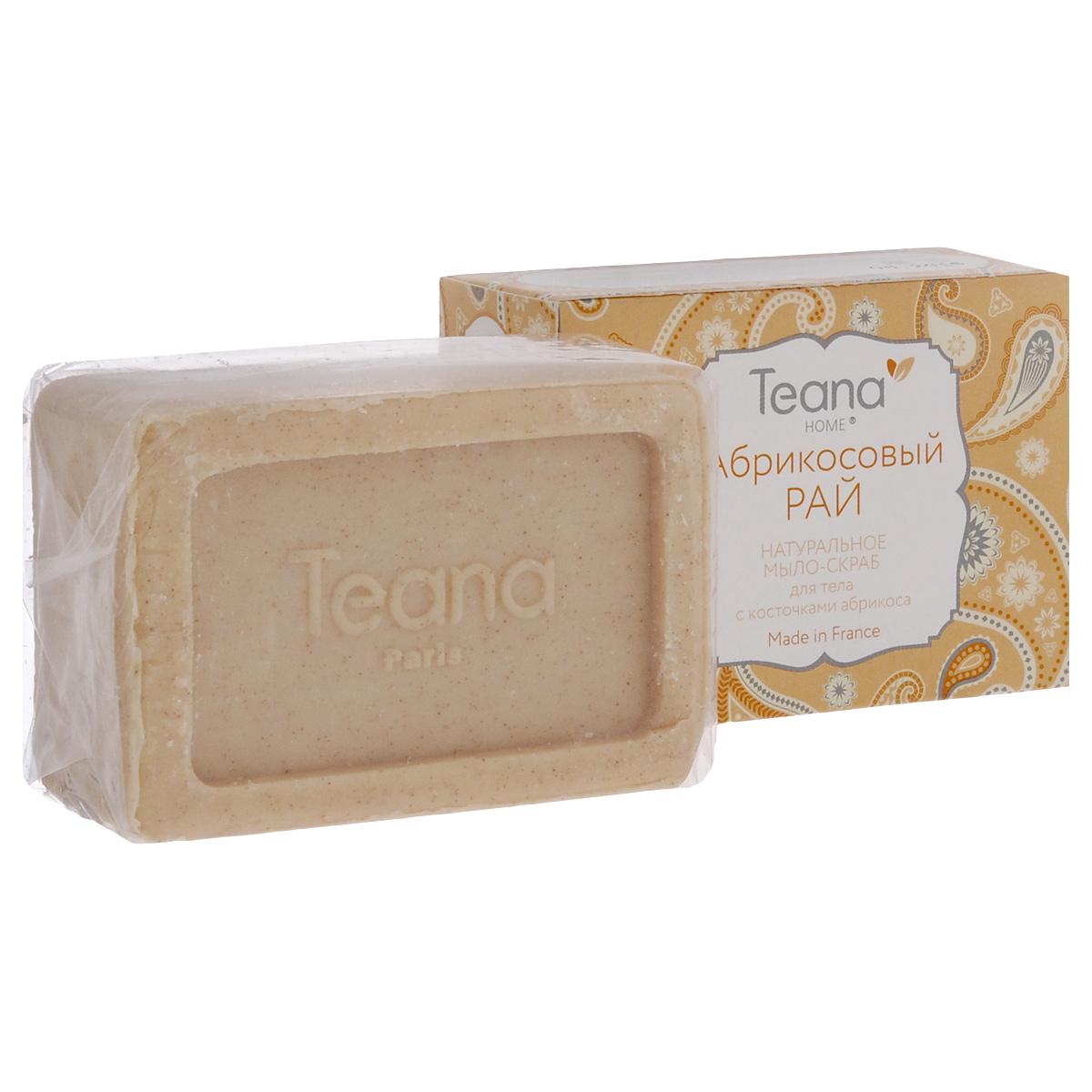 Teana Натуральное мыло-скраб для тела Абрикосовый рай, для всех типов кожи, с косточками абрикоса, 100 г