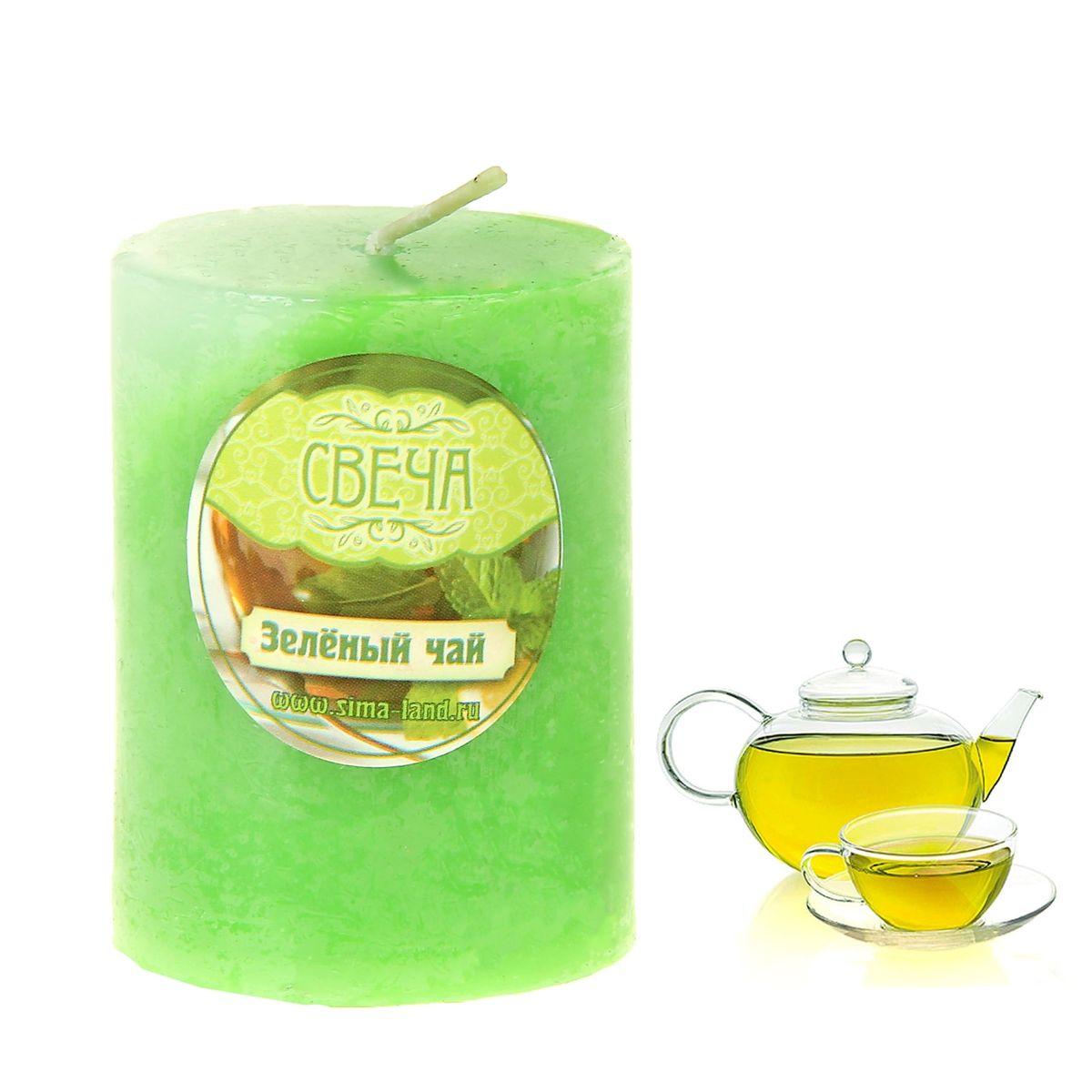 """Свеча ароматизированная Sima-land """"Зеленый чай"""", цвет: светло-зеленый, белый, высота 6 см"""