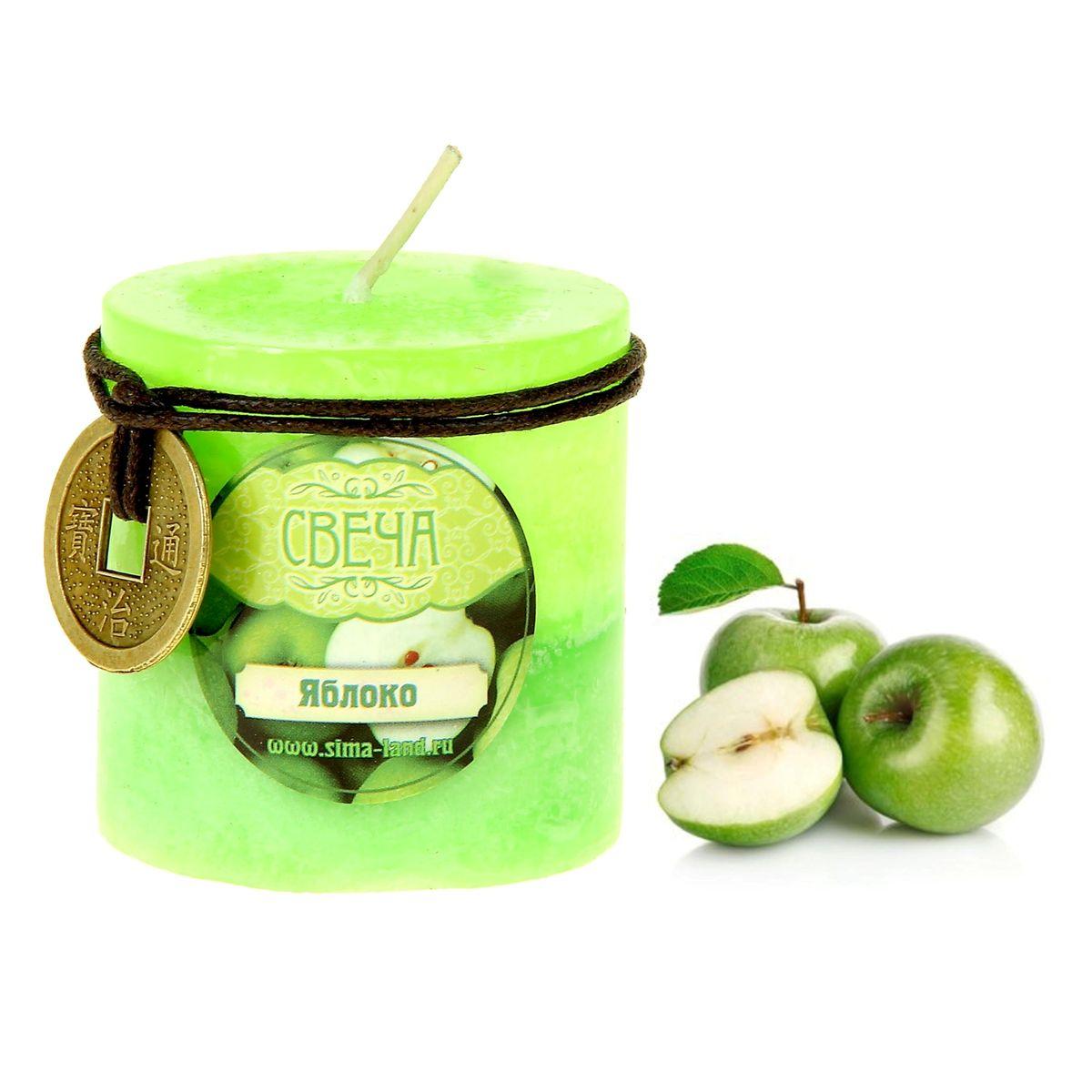 Свеча ароматизированная Sima-land Яблоко, цвет: салатовый, зеленый, высота 5 см. 849459849459Свеча Sima-land Яблоко выполнена из воска в виде столбика. Изделие порадует вас ярким дизайном и приятным ароматом яблока, который понравится как женщинам, так и мужчинам. В комплекте - монета на шнурке, декорированная рельефными изображениями иероглифов. Создайте для себя и своих близких незабываемую атмосферу праздника в доме. Ароматическая свеча Sima-land Яблоко может стать не только отличным подарком, но и гарантией хорошего настроения, ведь это красивая вещь из качественного, безопасного для здоровья материала.