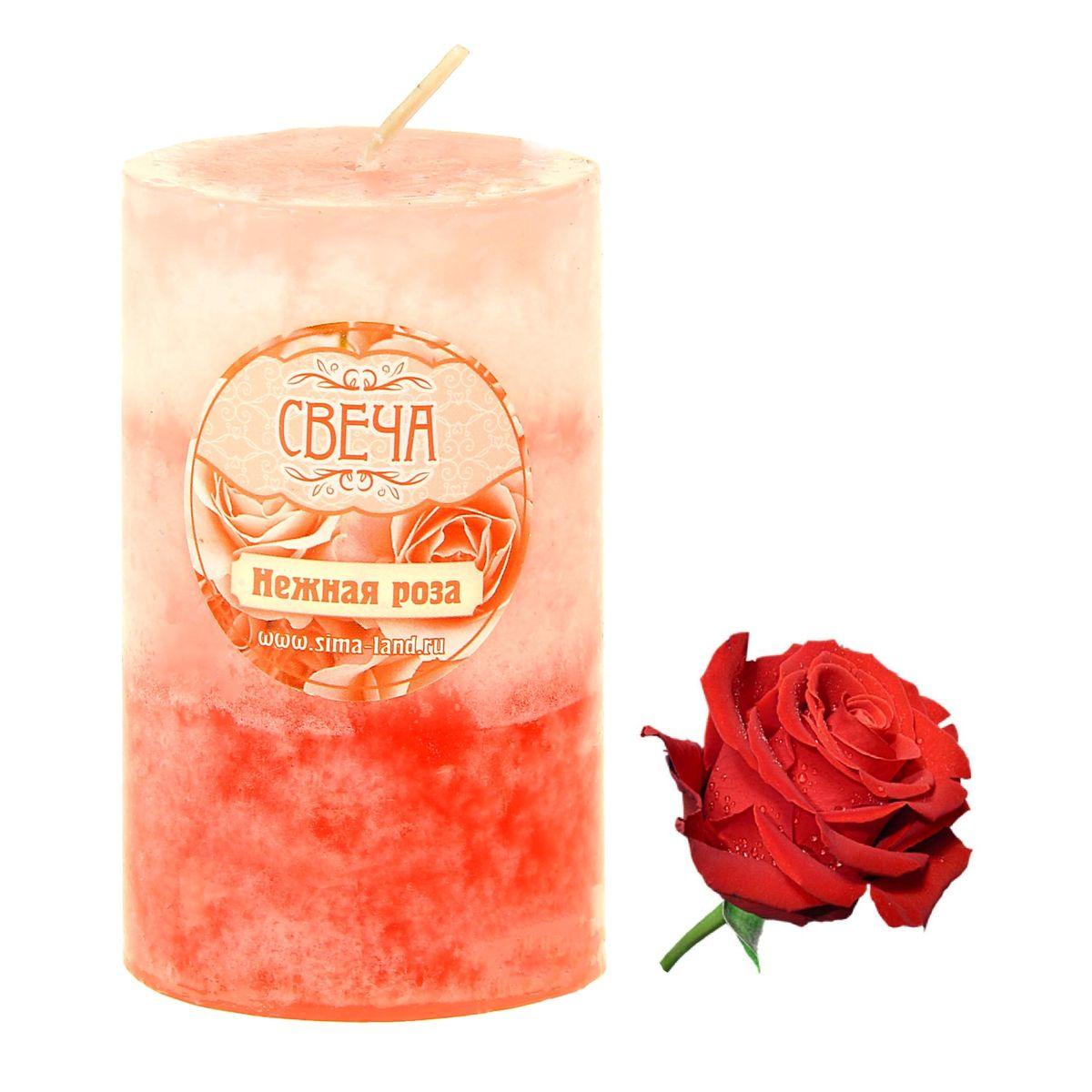 Свеча ароматизированная Sima-land Нежная роза, цвет: светло-розовый, розовый, высота 7,5 см. 849478849478Свеча Sima-land Нежная роза выполнена из воска в виде столбика. Свеча наполнит дом приятным ароматом розы, который понравится как женщинам, так и мужчинам. Создайте для себя и своих близких не забываемую атмосферу праздника. Ароматическая свеча Sima-land Нежная роза раскрасит серые будни яркими красками.