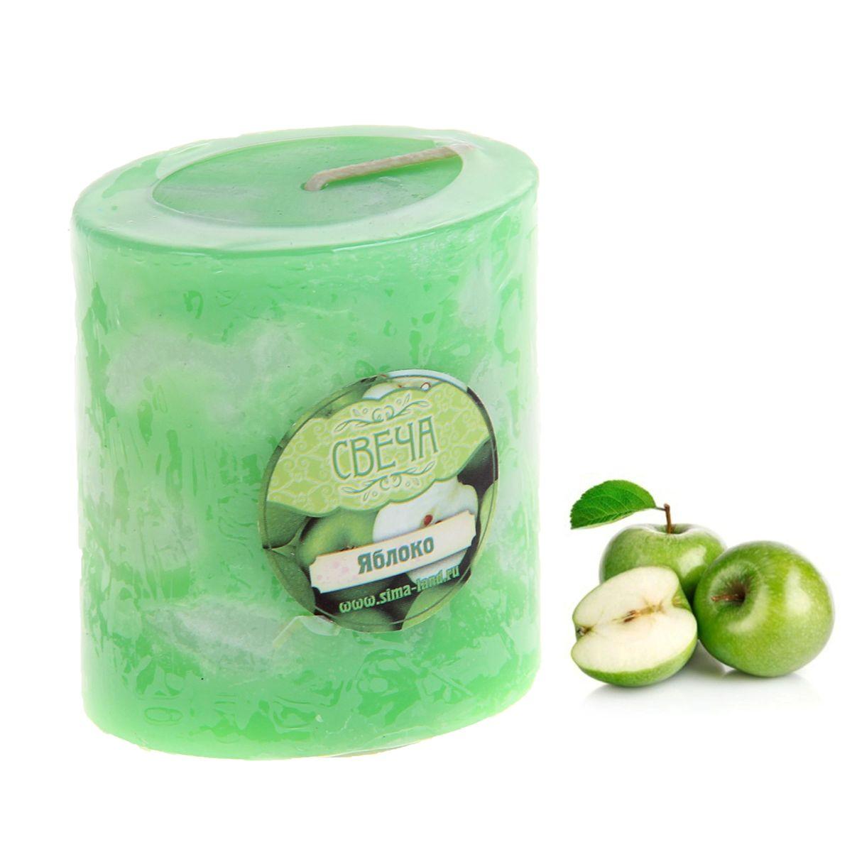 """Свеча ароматизированная Sima-land """"Слияние"""", с ароматом яблока, цвет: зеленый, белый, высота 7 см"""