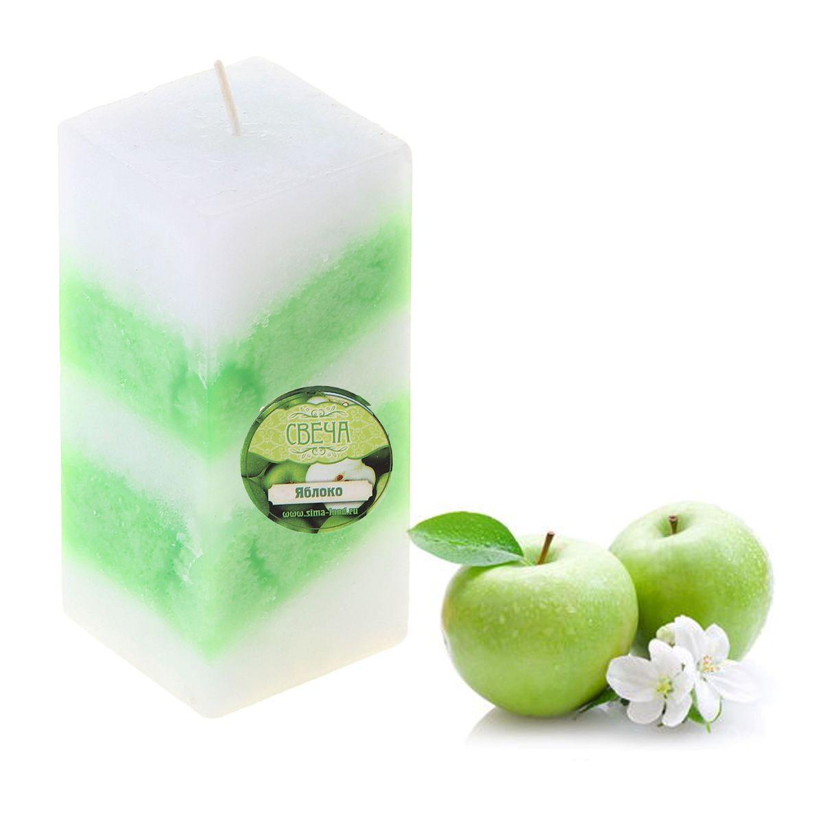"""Свеча ароматизированная Sima-land """"Яблоко"""", цвет: белый, зеленый, высота 10 см. 849589"""