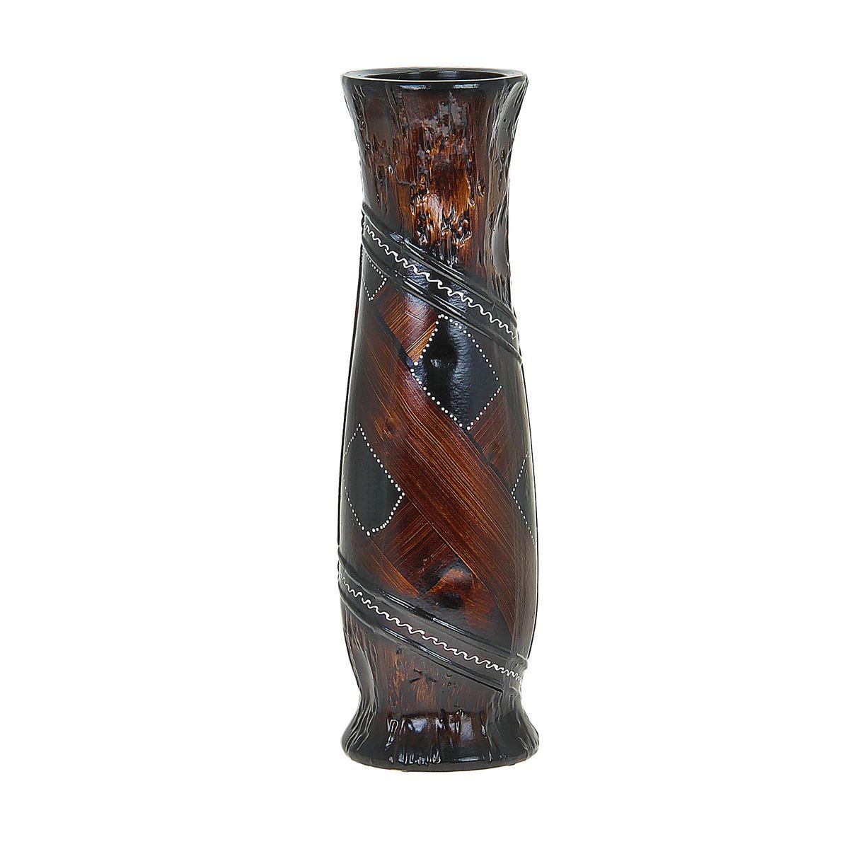 Ваза напольная Вставка, цвет: коричневый, высота 60 см. 851267851267Керамика