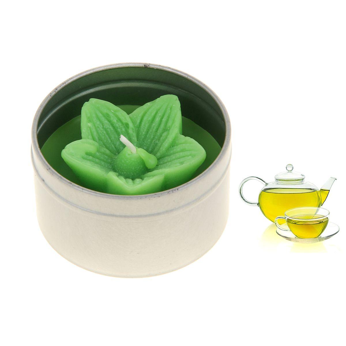 Свеча ароматизированная Sima-land Зеленый чай, высота 4 см853439Ароматизированная свеча Sima-land Зеленый чай, изготовленная из воска, поставляется в подсвечнике в виде металлической баночки с крышкой. Воск имеет форму цветка с фитилем по центру. Изделие отличается оригинальным дизайном и приятным ароматом. Такая свеча может стать отличным подарком или создаст незабываемую атмосферу праздника в вашем доме.