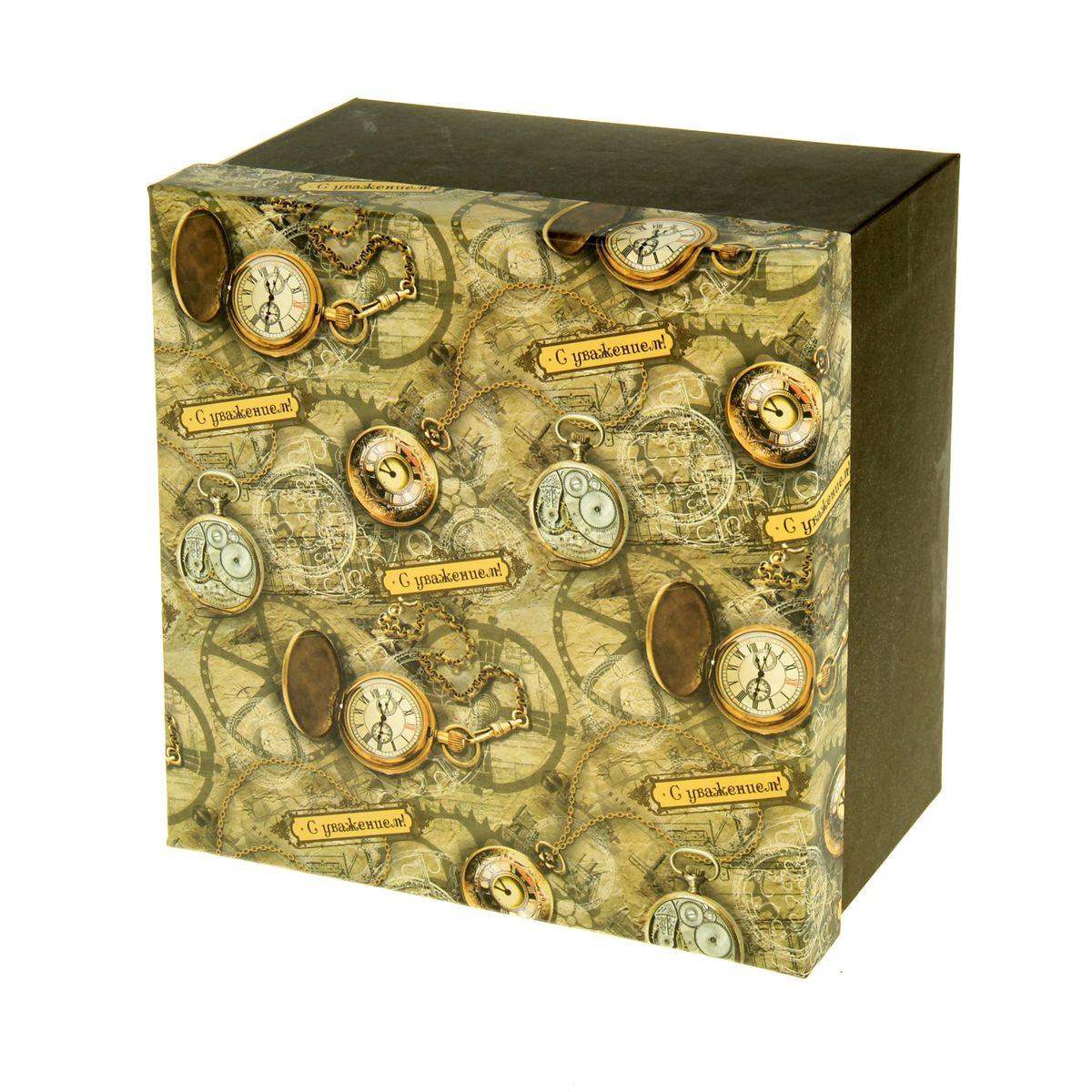 Подарочная коробка Sima-land Часы, 20 х 20 х 11,5 см862373Подарочная коробка Sima-land Часы выполнена из плотного картона. Крышка оформлена ярким изображением часов и надписью С уважением!. Подарочная коробка - это наилучшее решение, если вы хотите порадовать ваших близких и создать праздничное настроение, ведь подарок, преподнесенный в оригинальной упаковке, всегда будет самым эффектным и запоминающимся. Окружите близких людей вниманием и заботой, вручив презент в нарядном, праздничном оформлении.
