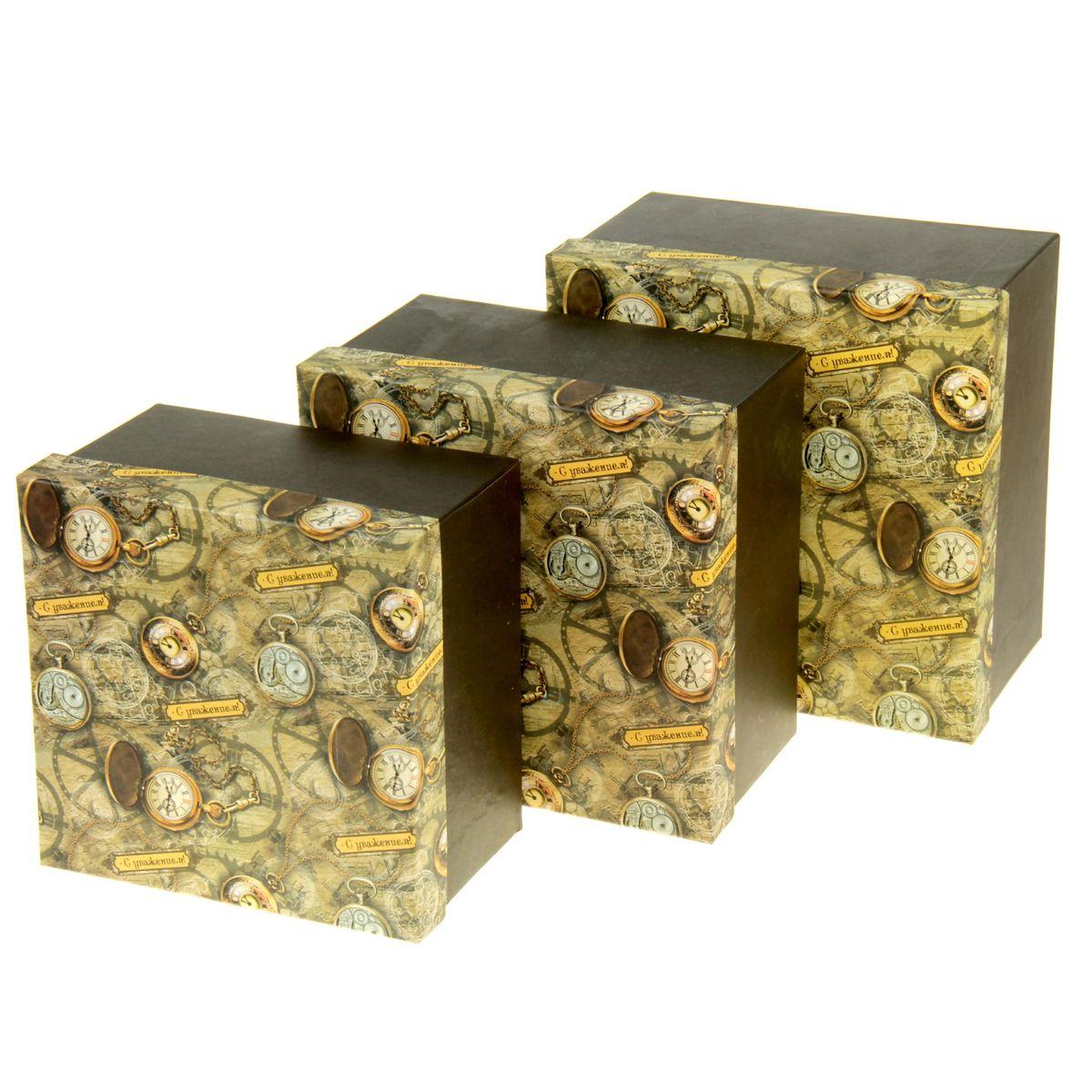 Набор подарочных коробок Sima-land Часы, 3 шт862376Набор Sima-land Часы состоит из 3 подарочных коробок разного размера, выполненных из плотного картона. Крышка оформлена ярким изображением и надписью С уважением!. Подарочная коробка - это наилучшее решение, если вы хотите порадовать ваших близких и создать праздничное настроение, ведь подарок, преподнесенный в оригинальной упаковке, всегда будет самым эффектным и запоминающимся. Окружите близких людей вниманием и заботой, вручив презент в нарядном, праздничном оформлении. Размер большой коробки: 20 см х 20 см х 11,5 см. Размер средней коробки: 18,5 см х 18,5 см х 11 см. Размер маленькой коробки: 17 см х 17 см х 10,5 см.