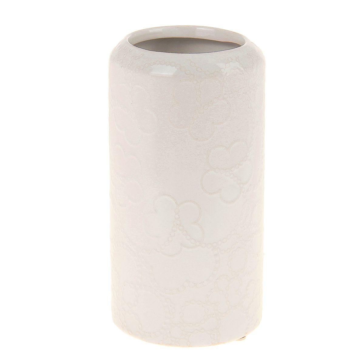 Ваза керамика кремовая кружева 20,5*10,5 см 863629863629Керамика