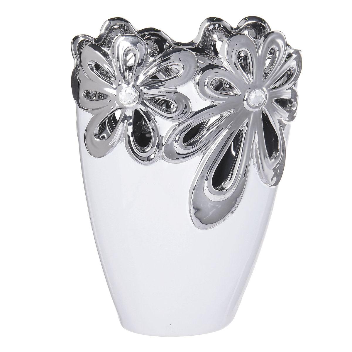 Ваза керамика цветочная иллюзия 24,5*17,5*8,5 см белая 866185866185Керамика