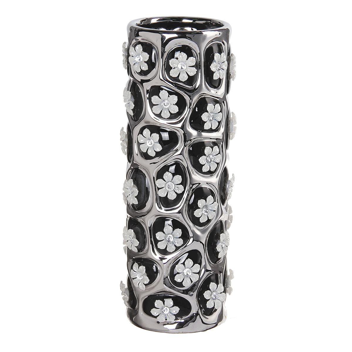 Ваза керамика цветочный орнамент 27*9*9 см черная 866189866189Керамика