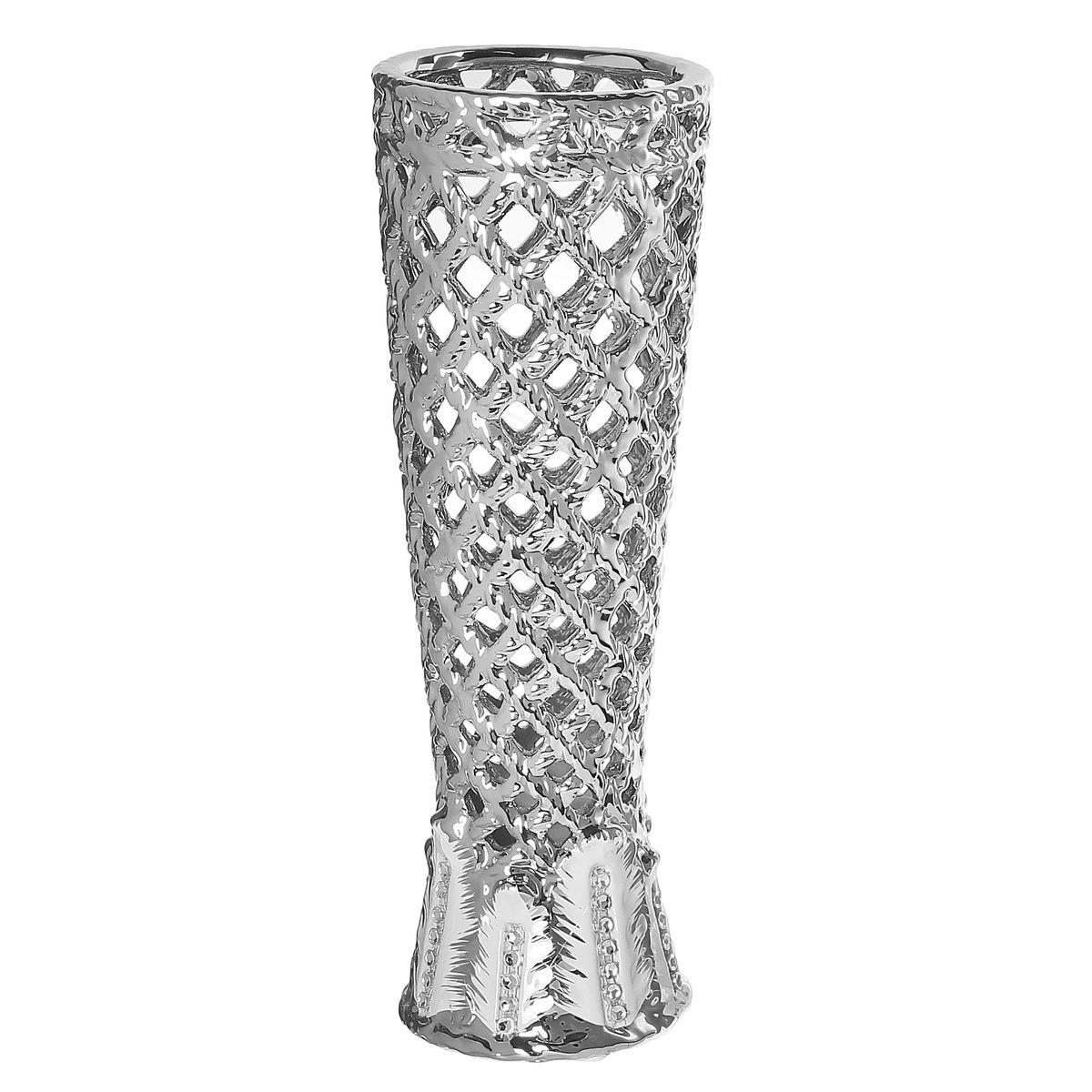 Ваза керамика серебрянная сетка 28,5*9*9 см 866199