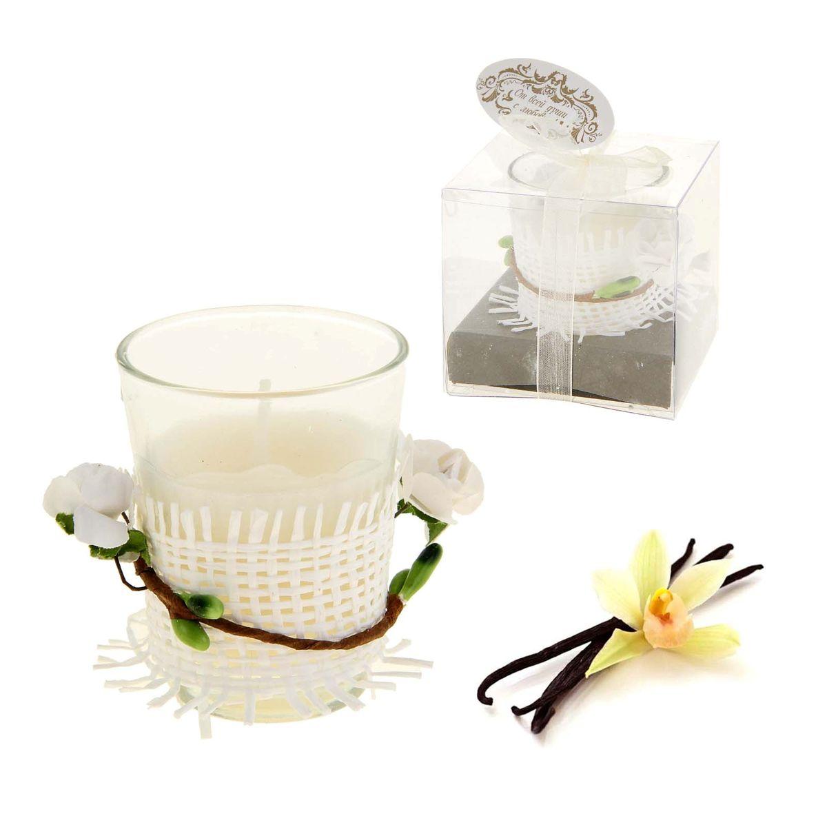 Свеча ароматизированная Sima-land Влечение. Ваниль, высота 6 см896687Ароматизированная свеча в стеклянном стакане Sima-land Влечение. Ваниль выполнена из высококачественного цветного воска. Стакан украшен декоративными бумажными цветами. Изделие отличается оригинальным дизайном и приятным ароматом ванили. Такая свеча может стать отличным подарком или дополнить интерьер вашей комнаты.