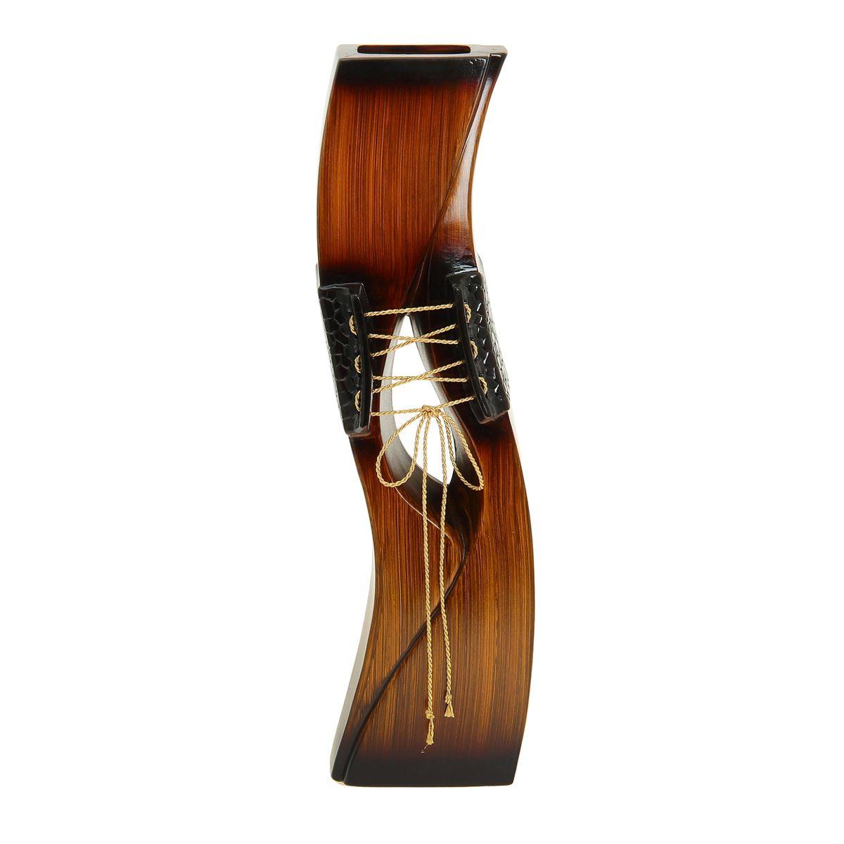 Ваза напольная Шнуровка, цвет: коричневый, высота 60 см. 912926912926Керамика