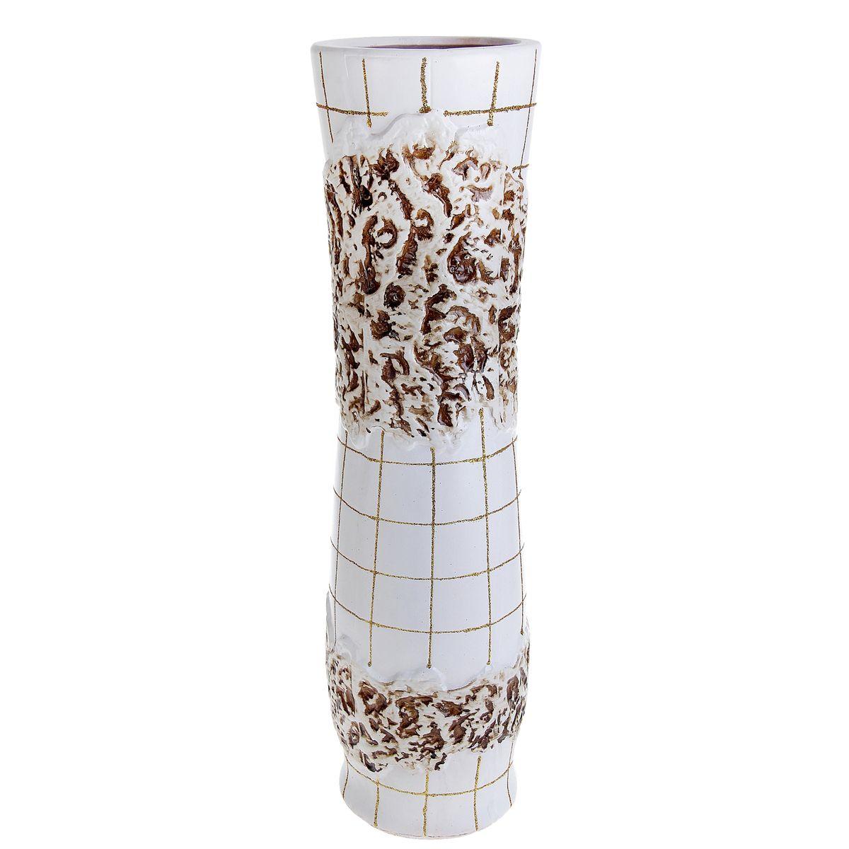 Ваза напольная Цветочная плитка, цвет: белый, высота 60 см. 913550913550Керамика
