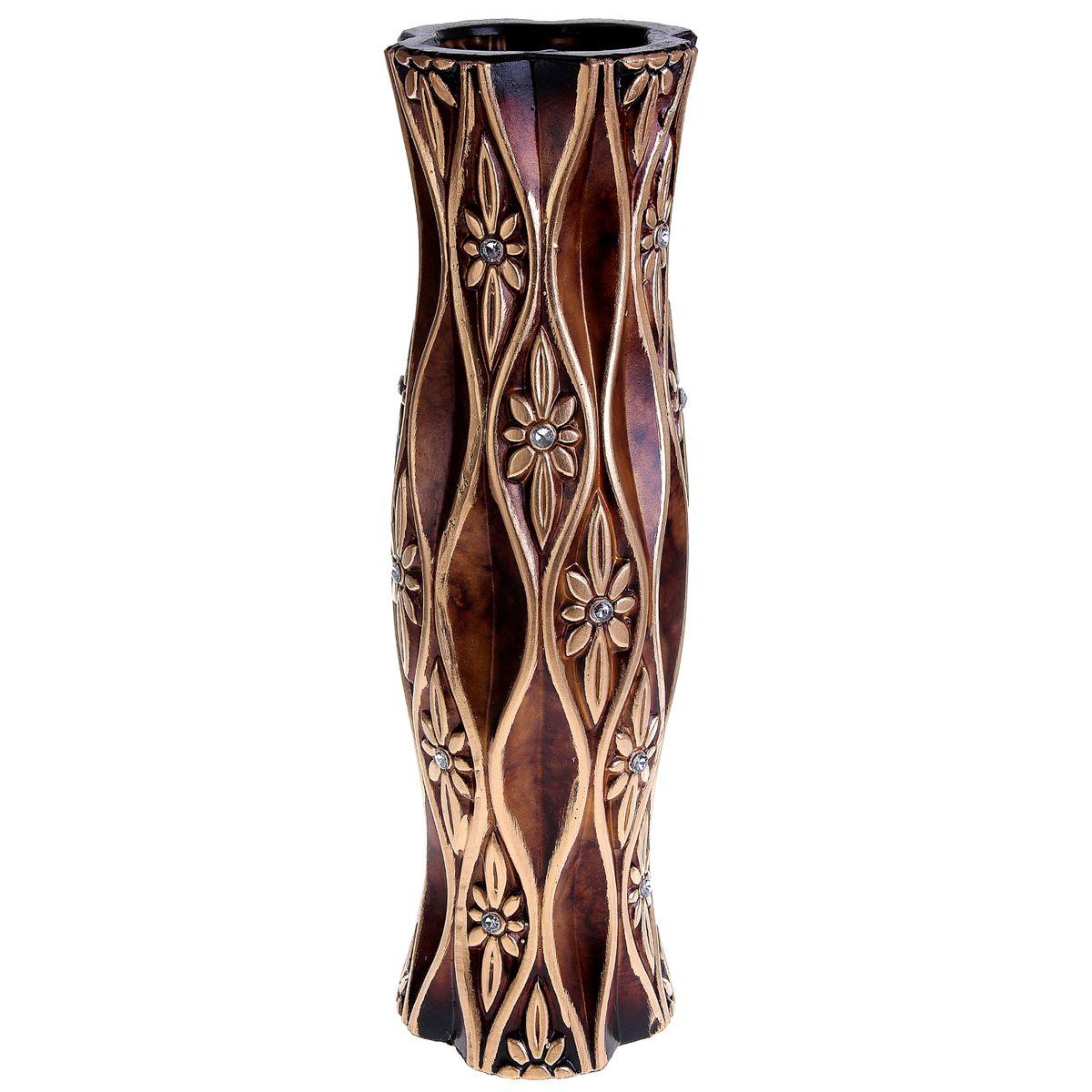 Ваза напольная Цветочный хрусталь, цвет: коричневый, золотистый, высота 60 см. 913554913554Керамика