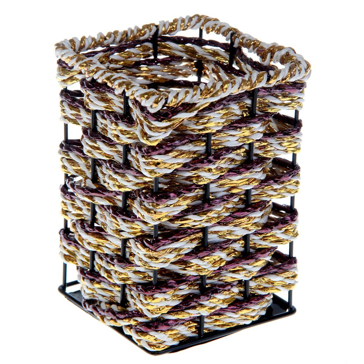 ваза плетеная металл 9*12,5 см квадратик 915887915887Лоза,металл