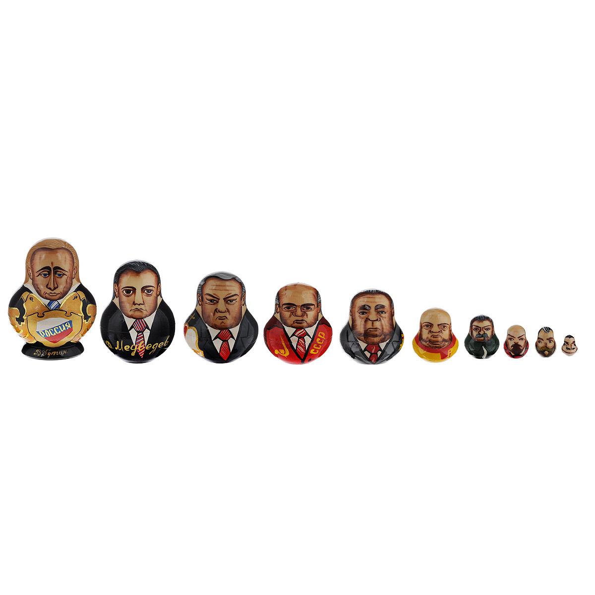 Набор матрешек Василиса История России, 10 кукол, высота 14 см. Ручная работампл10с1