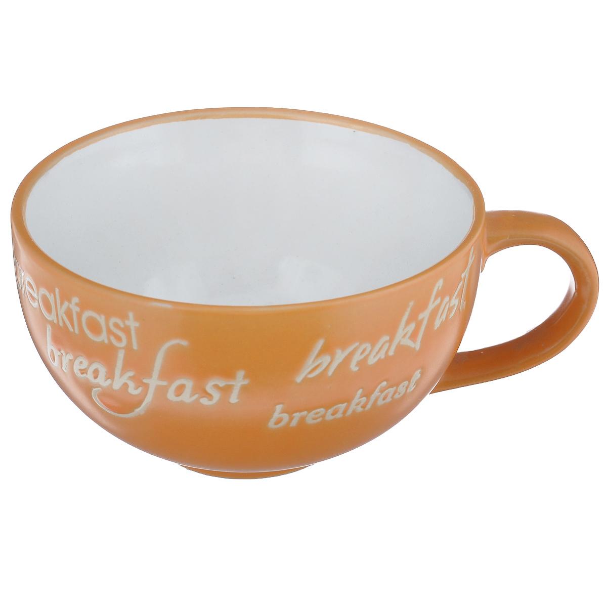 Чашка Wing Star Breakfast, цвет: белый, оранжевый, 420 млLJ3452-1203Чашка Wing Star Breakfast изготовлена из высококачественной керамики с оригинальным принтом в виде надписей. При изготовлении использовался рельефный способ нанесения декора, когда рельефная поверхность подготавливается в процессе формовки, и изделие обрабатывается с уже готовым декором. Благодаря этому достигается эффект неровного на ощупь рисунка, как бы утопленного внутрь глазури и являющегося его естественным элементом. Такая чашка прекрасно подойдет для горячих и холодных напитков. Она дополнит коллекцию вашей кухонной посуды и будет служить долгие годы. Можно использовать в посудомоечной машине и СВЧ. Объем: 420 мл. Диаметр чашки (по верхнему краю): 11,5 см. Высота стенки чашки: 6,5 см.