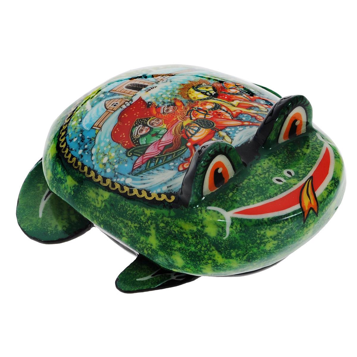 Лаковая миниатюра-шкатулка Палех Лягушка, цвет: зеленый, 5 см. Ручная работа1пс1