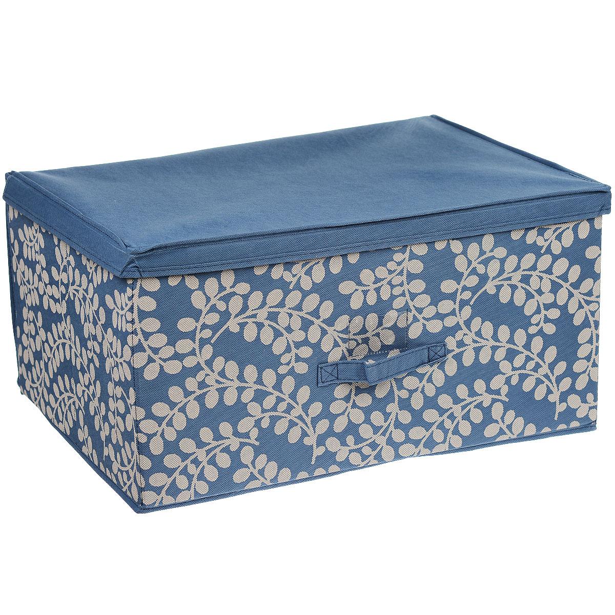 Чехол-коробка Cosatto Флораль, цвет: голубой, серый, 60 х 45 х 30 смCOVLSCTF03 голубой, серыйЧехол-коробка Cosatto Флораль поможет легко и красиво организовать пространство в кладовой, спальне, гардеробе. Изделие выполнено из дышащего нетканого материала (полипропилен), украшенного изящным растительным узором. Прочность каркаса обеспечивается наличием внутри плотных и толстых листов картона. Чехол-коробка закрывается крышкой, что поможет защитить вещи от пыли и грязи. Сбоку имеется ручка. Чехол подходит для хранения габаритной одежды, толстых пуховых одеял и других вещей. Складная конструкция обеспечивает компактное хранение.