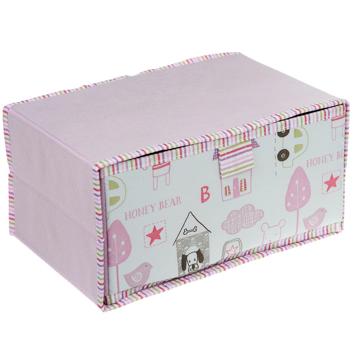Чехол-коробка Cosatto Беби, цвет: розовый, 30 см х 20 см х 15 смCOVLCSBY10BЧехол-коробка Cosatto Беби поможет легко и красиво организовать пространство в детской комнате. Изделие выполнено из полиэстера и нетканого материала, прочность каркаса обеспечивается наличием внутри плотных и толстых листов картона. Внутреннее отделение выдвижное. Такой чехол идеально подойдет для хранения игрушек и детских вещей и защитит их от грязи и пыли. Яркий дизайн изделия привлечет внимание ребенка и вызовет у него желание самостоятельно убирать игрушки. Складная конструкция обеспечивает компактное хранение.