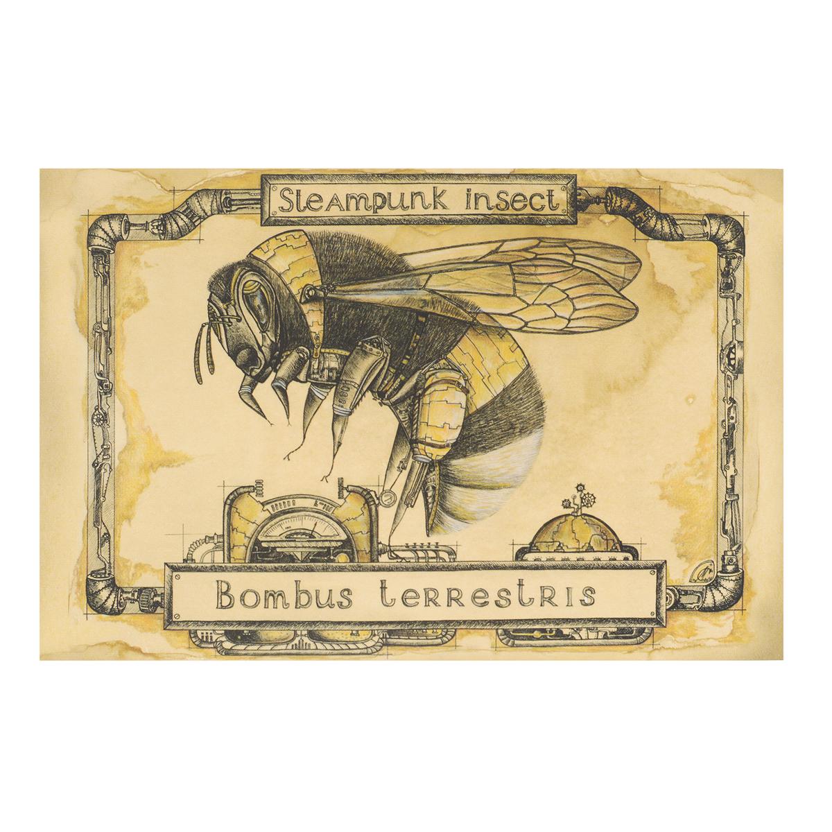 Открытка Steampunk Insect. Шмель. Автор Мария СкородумоваSM10-006Оригинальная дизайнерская открытка Шмель из серии Steampunk Insect выполнена из плотного матового картона. На лицевой стороне расположена репродукция картины художницы Марии Скородумовой. Такая открытка станет великолепным дополнением к подарку или оригинальным почтовым посланием, которое, несомненно, удивит получателя своим дизайном и подарит приятные воспоминания.