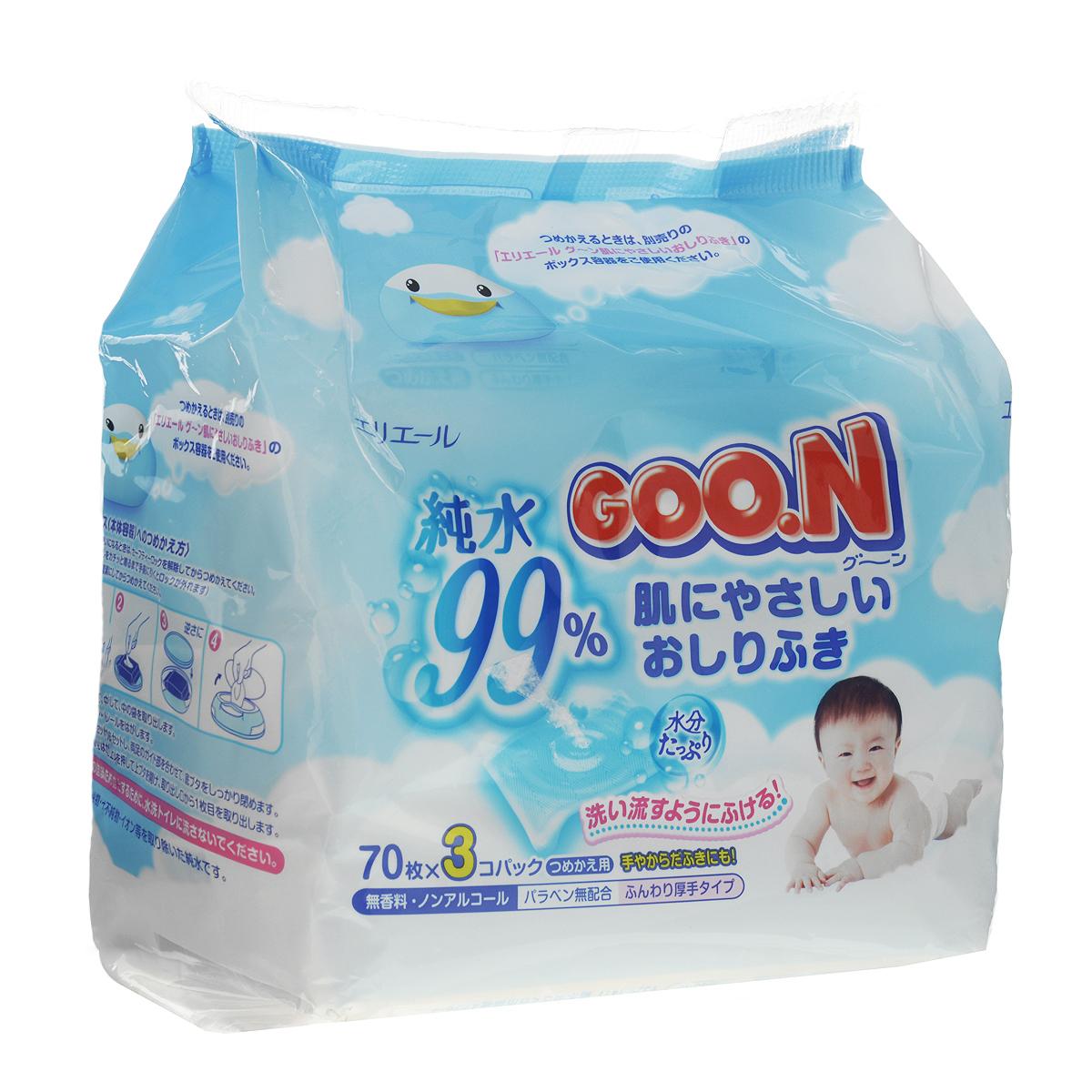 Влажные салфетки для детей Goon, 3х70 шт733344Мягкие салфетки Goon нежно очищают, увлажняют и освежают кожу ребенка. Идеальны для ухода за малышом на прогулках и дома, а также удобны при смене подгузника. Влажные салфетки заботливо очищают, увлажняют и освежают нежную кожу ребенка. Салфетки рекомендуется использовать с первых дней жизни малыша. Салфетки имеют специально разработанную сетчатую поверхность. Благодаря высокому содержанию влаги эти салфетки без труда удалят грязь, нежно прикасаясь к коже. В состав лосьона, которым пропитаны салфетки, входят 3 натуральных экстракта, которые бережно ухаживают за чувствительной кожей малыша. Товар сертифицирован.