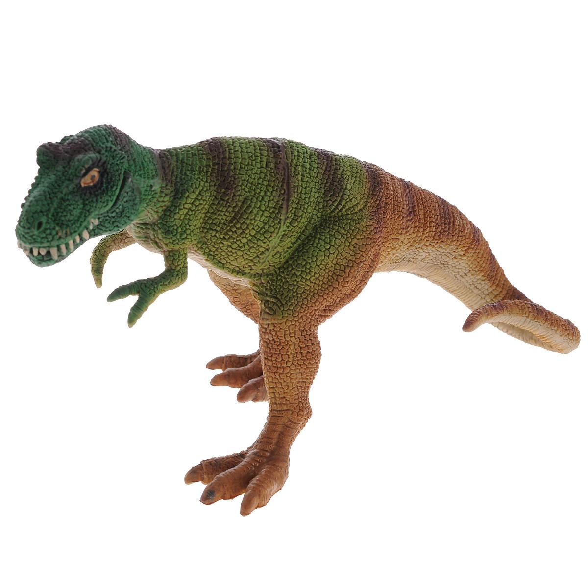 Фигурка Megasaurs Тираннозавр с двигающейся пастью, цвет: бежевый, светло-зеленыйSV11025_бежевый, светло-зеленыйБольшая фигурка динозавра Megasaurs выполнена из высококачественного материала, внешний вид динозавра основан на реальных палеонтологических данных. Тираннозавр, пожалуй, самый известный из древних ящеров. Этот грозный хищник достигал 12 метров в длину, а его острые зубы представляли смертельную опасность. Жил в конце Мелового периода, закончив свое существование во время катаклизма, положившего конец эре динозавров. Фигурка тираннозавра функциональная, пасть открывается, придавая динозавру устрашающий вид.
