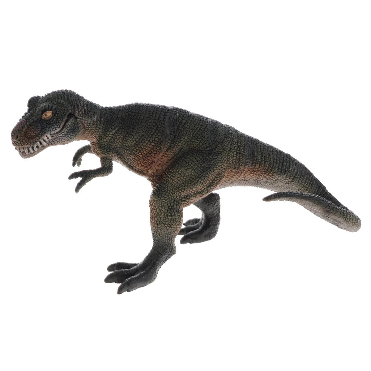Фигурка Megasaurs Тираннозавр с двигающейся пастью, цвет: серый, темно-зеленыйSV11025_серый, темно-зеленыйБольшая фигурка динозавра Megasaurs выполнена из высококачественного материала, внешний вид динозавра основан на реальных палеонтологических данных. Тираннозавр, пожалуй, самый известный из древних ящеров. Этот грозный хищник достигал 12 метров в длину, а его острые зубы представляли смертельную опасность. Жил в конце Мелового периода, закончив свое существование во время катаклизма, положившего конец эре динозавров. Фигурка тираннозавра функциональная, пасть открывается, придавая динозавру устрашающий вид.